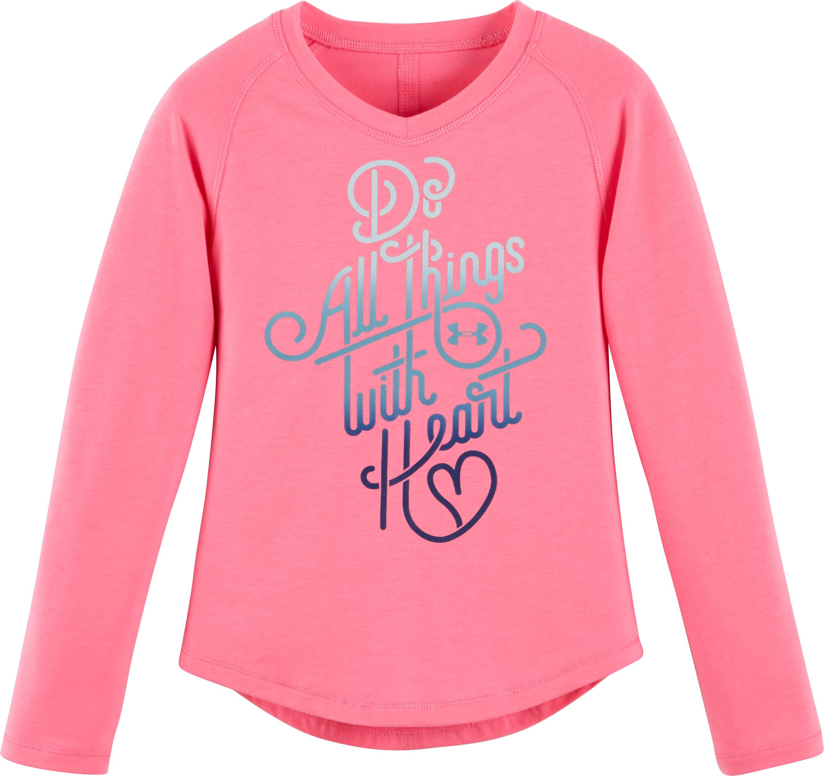 Girls' Pre-School UA Do All Things With <3 V-Neck, PINK PUNK, Laydown