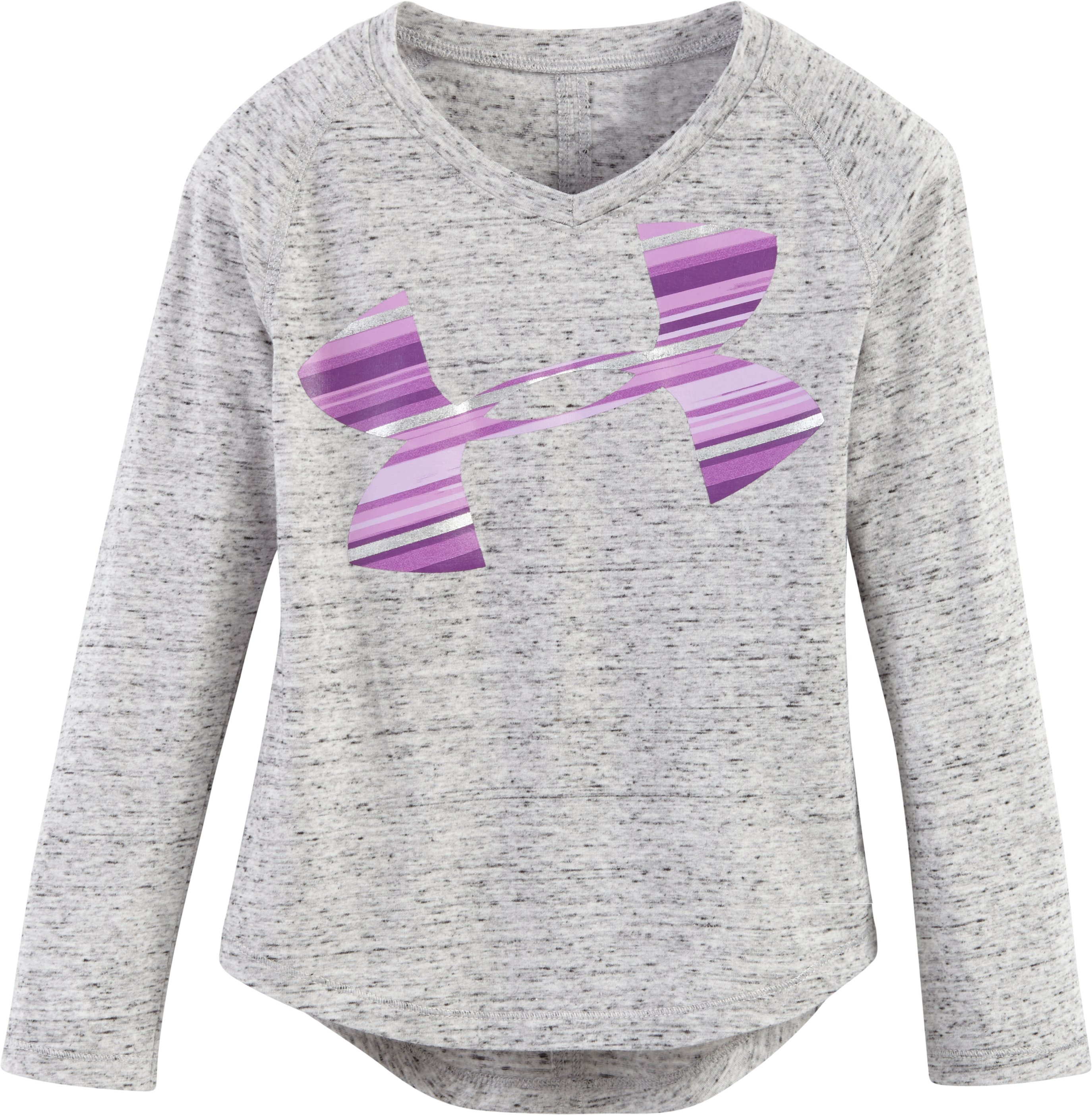 Girls' Toddler UA Blurred Striped Logo, True Gray Heather, Laydown