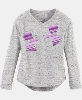 Girls' Pre-School UA Blurred Striped Logo   1 Color $14.24