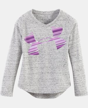 New Arrival Girls' Pre-School UA Blurred Striped Logo   1 Color $24.99