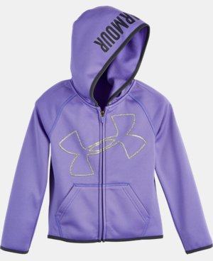 New Arrival Girls' Toddler UA Glitter Jumbo Big Logo Hoodie   $39.99