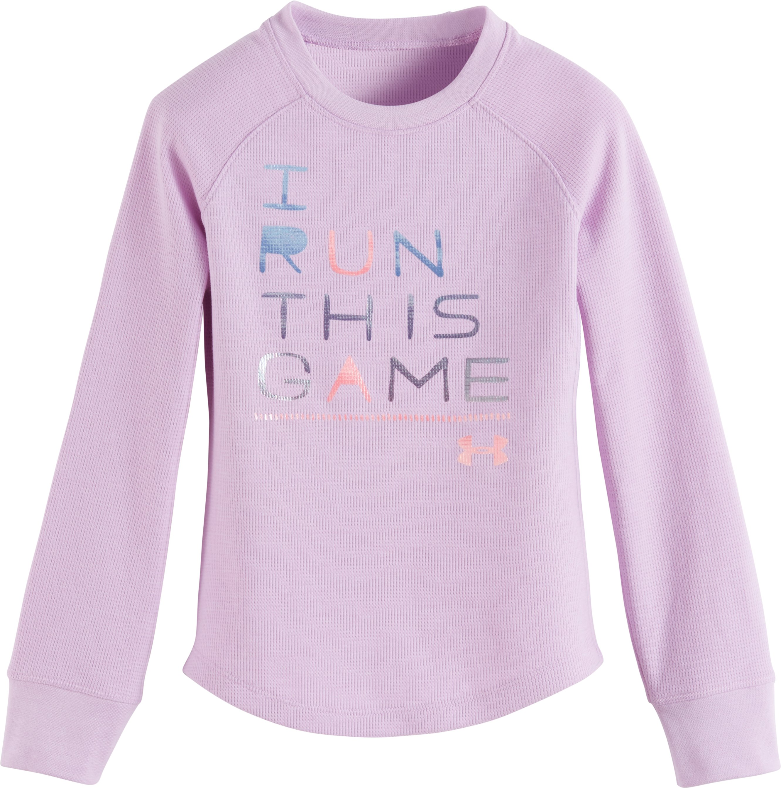 Girls' Pre-School UA I Run This Game Long Sleeve, SMOKY GRAPE, Laydown