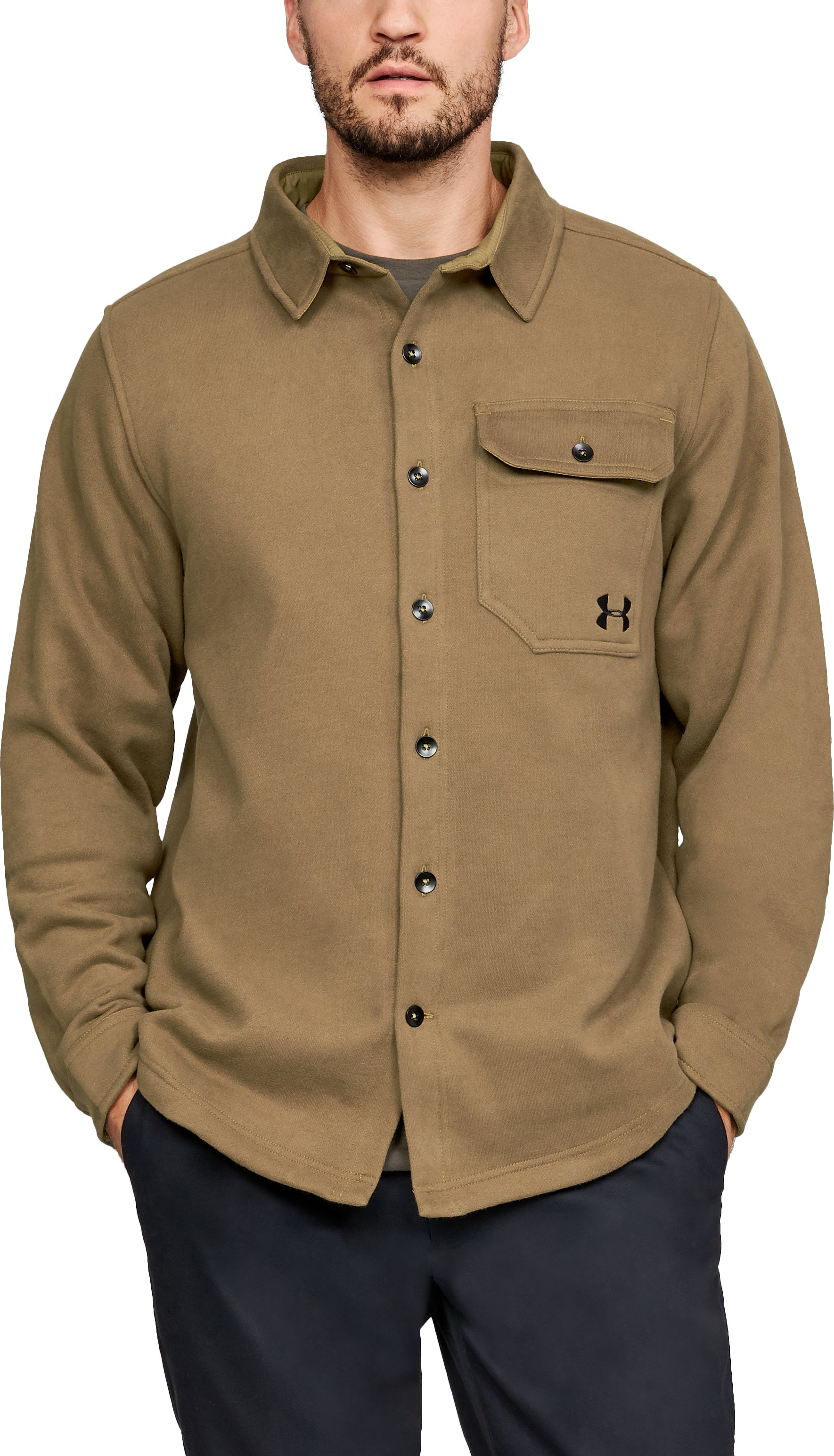 Men's UA Buckshot Fleece Shirt, Coyote Brown