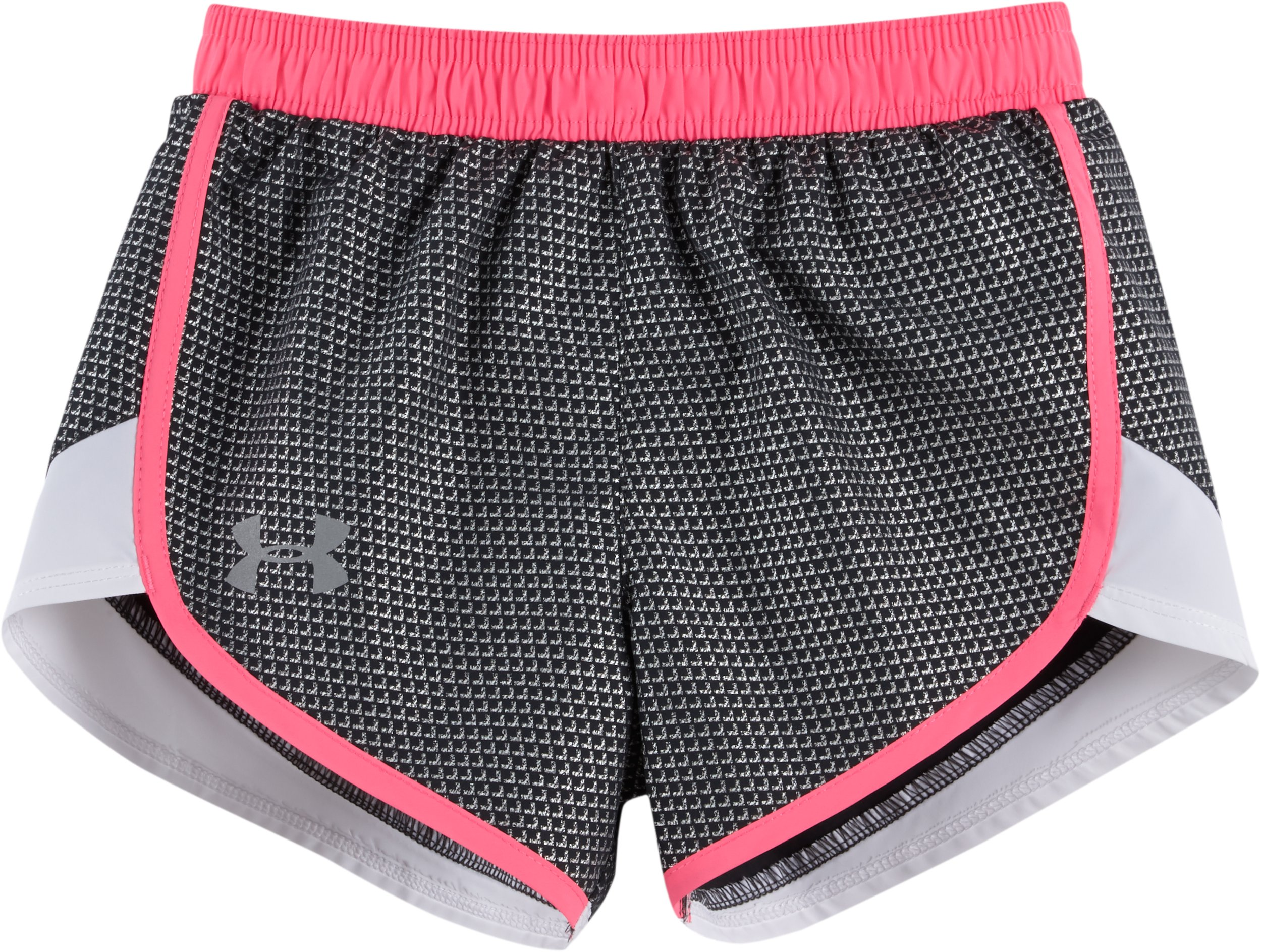 Girls' Pre-School UA Checkpoint Fast Lane Shorts, STEALTH GRAY, zoomed image