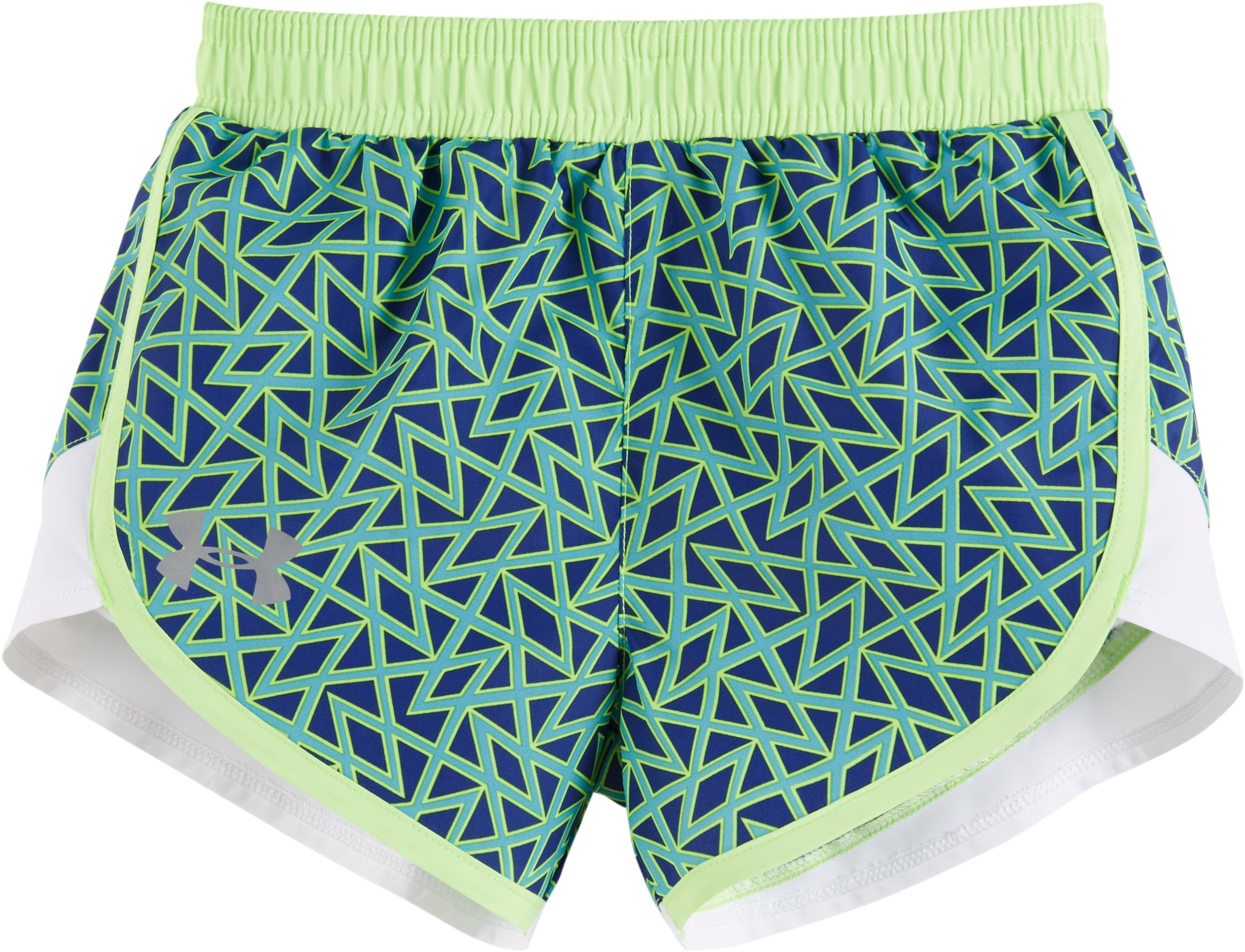 Girls' Toddler UA Chain Grid Mini Fast Lane Shorts, Caspian