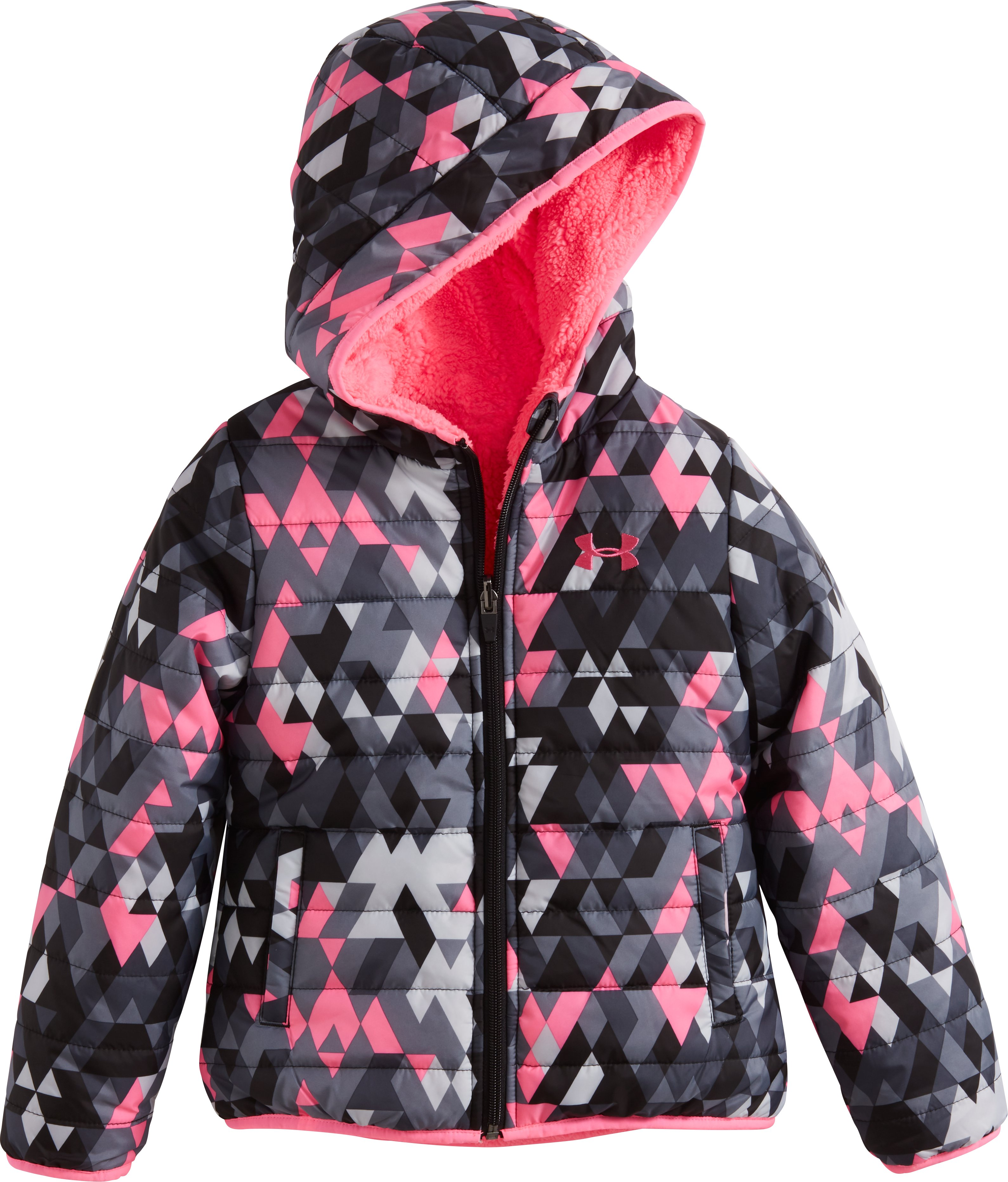 Girls' Toddler UA Tri Meta Feature Reversible Puffer Jacket, PINK PUNK