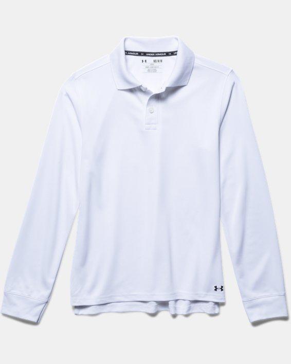Boys' Pre-School UA Uniform Long Sleeve Polo, White, pdpMainDesktop image number 2