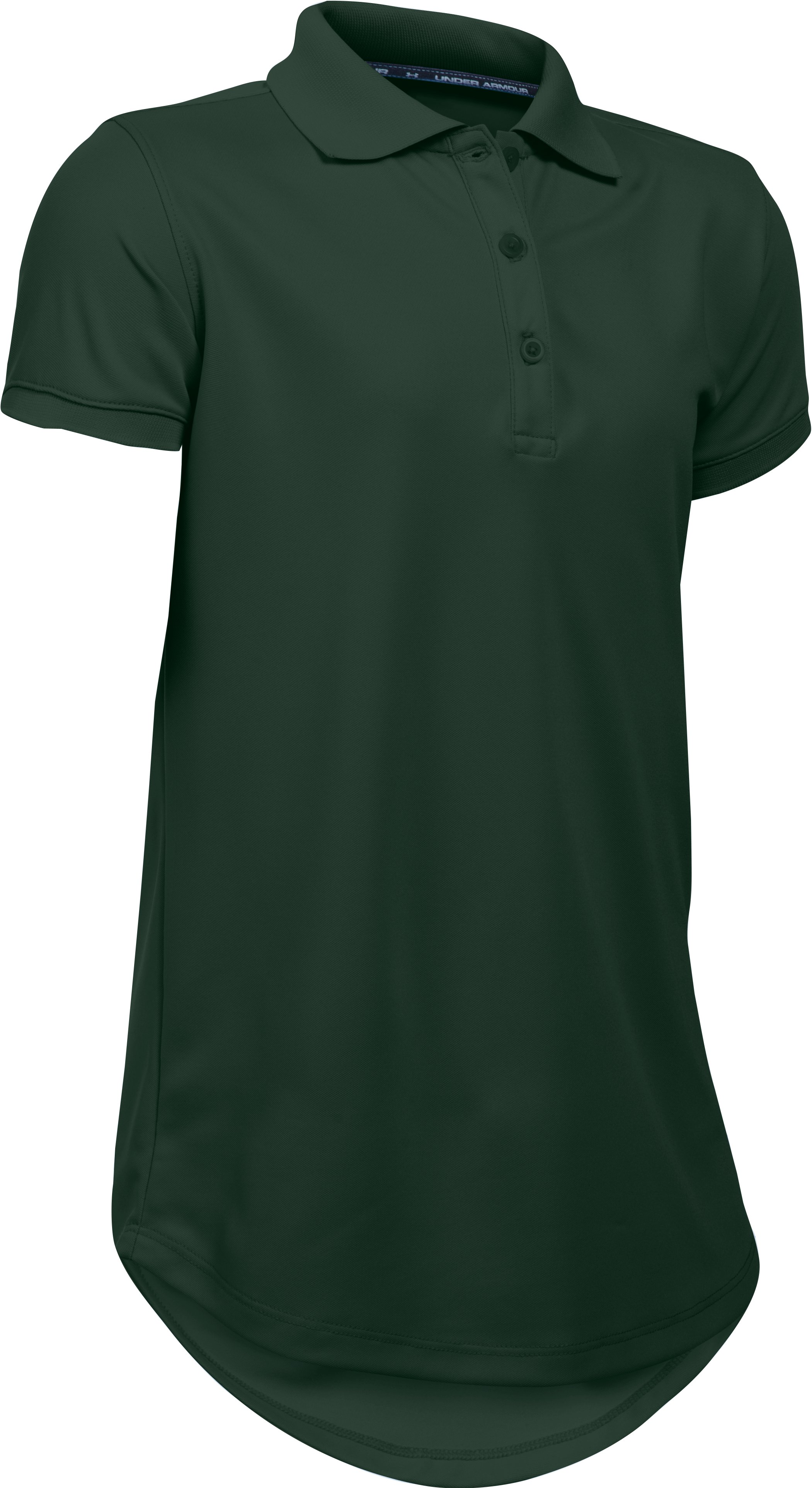 forest green polos Girls UA Uniform Short Sleeve Polo We love the UA Uniform shirts....My Daughter fall in love this polos shirts n her mom also fall in love with them because is real easy to wash n don't wrinkle easy iron...Highly recommend these shirts!