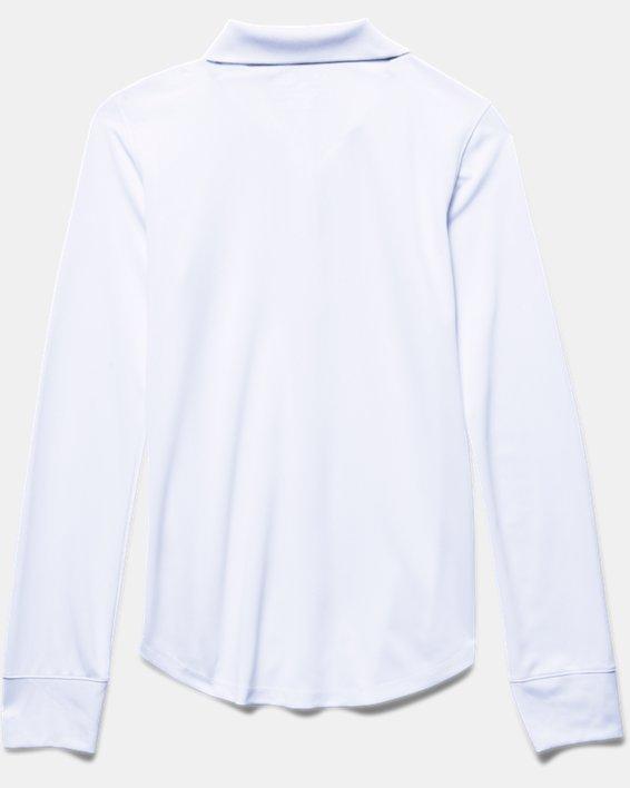 Girls' Pre-School UA Uniform Long Sleeve Polo, White, pdpMainDesktop image number 3