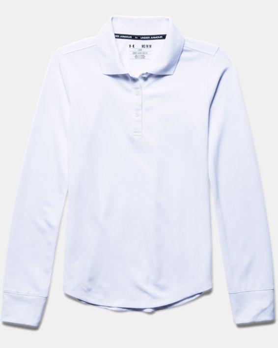 Girls' Pre-School UA Uniform Long Sleeve Polo, White, pdpMainDesktop image number 2