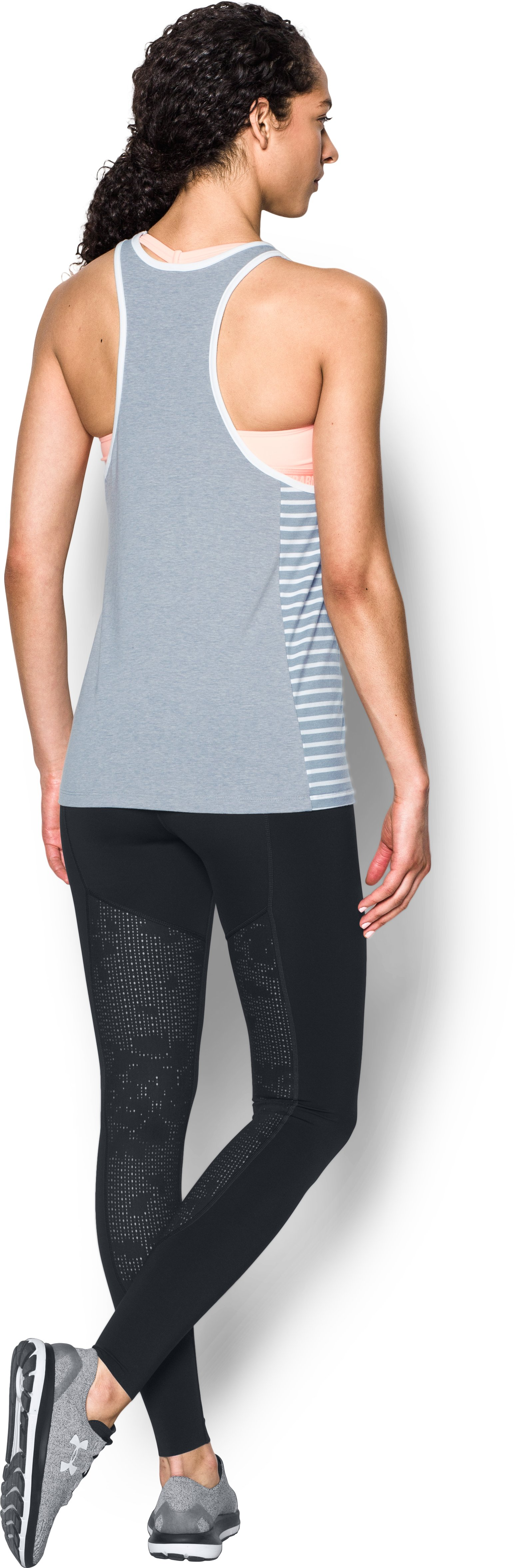 Women's UA Rest Day Flex Tank, True Gray Heather, Back