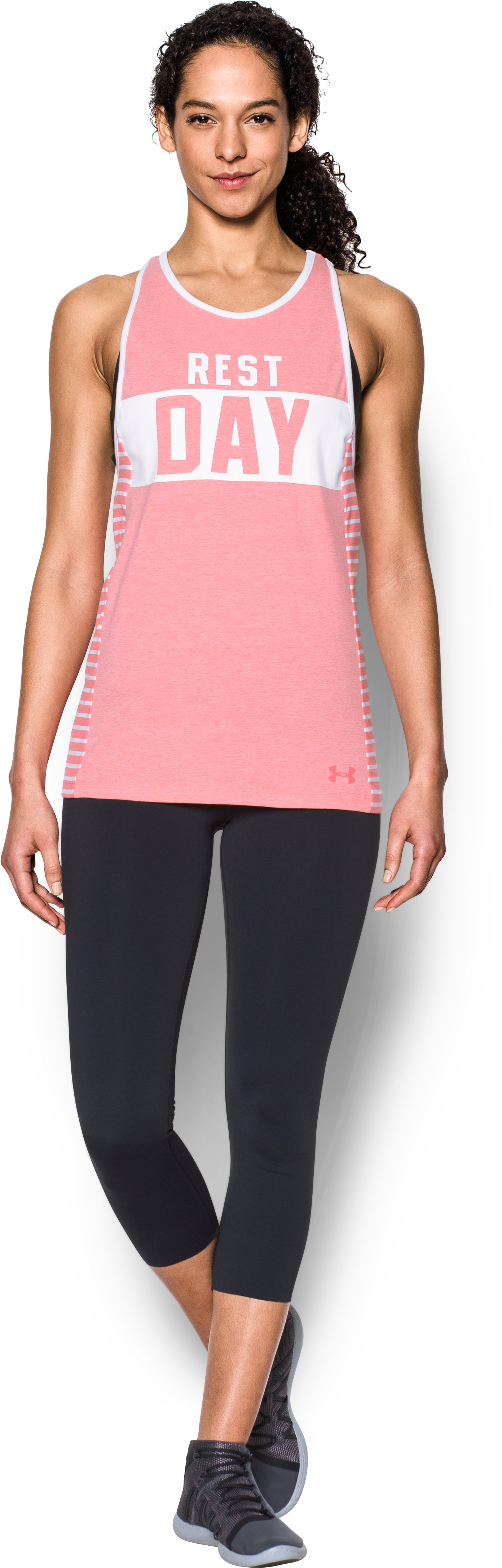 Women's UA Rest Day Graphic Tank, PERFECTION LIGHT HEATHER, Front