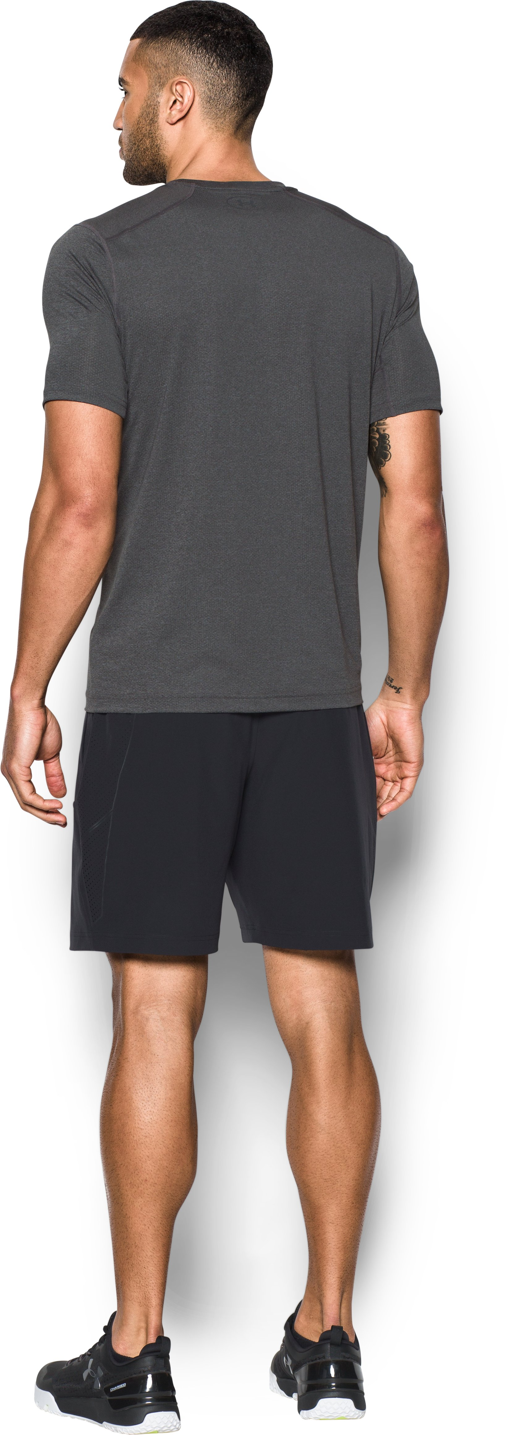 Men's HeatGear® CoolSwitch Twist Fitted Short Sleeve, Carbon Heather, Back