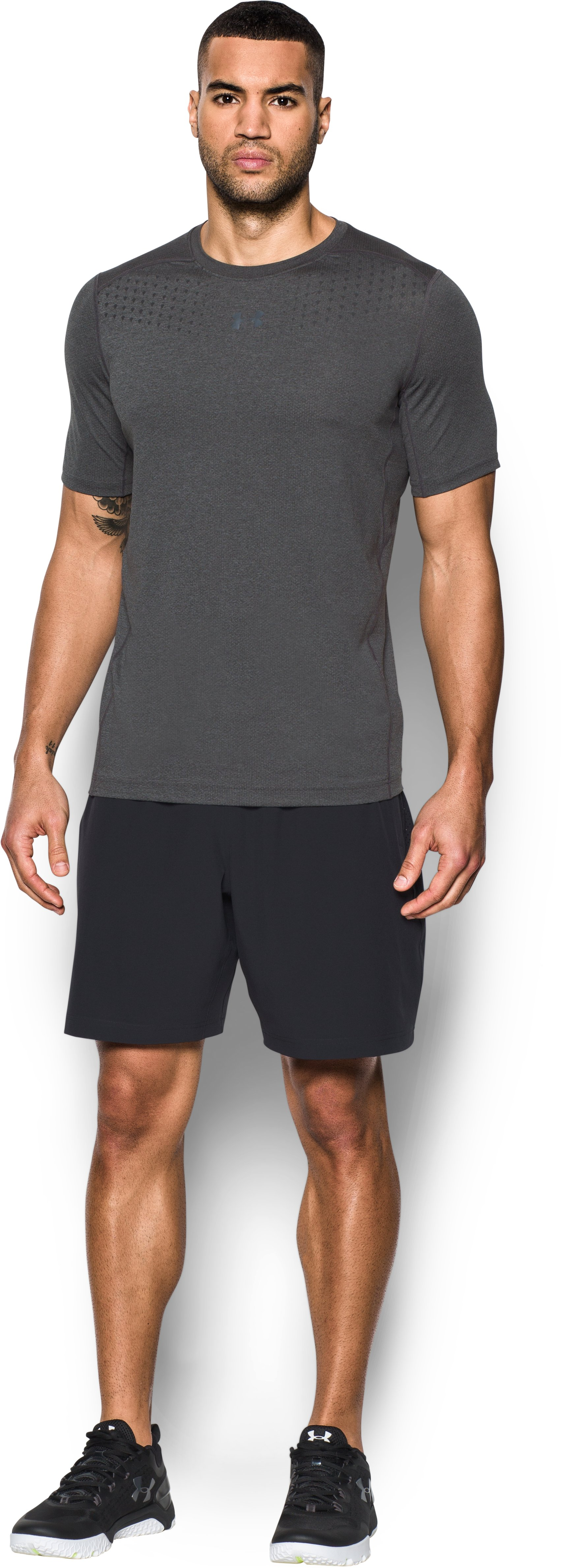 Men's HeatGear® CoolSwitch Twist Fitted Short Sleeve, Carbon Heather, Front