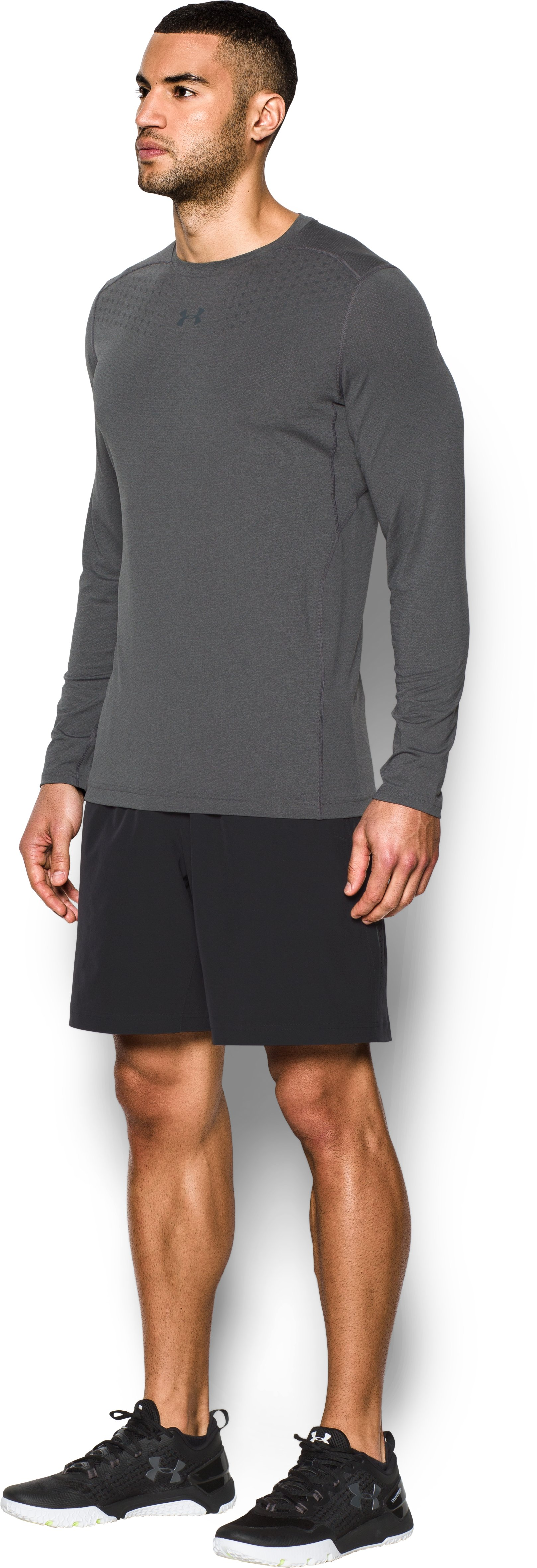 Men's HeatGear® CoolSwitch Twist Fitted Long Sleeve, Carbon Heather,