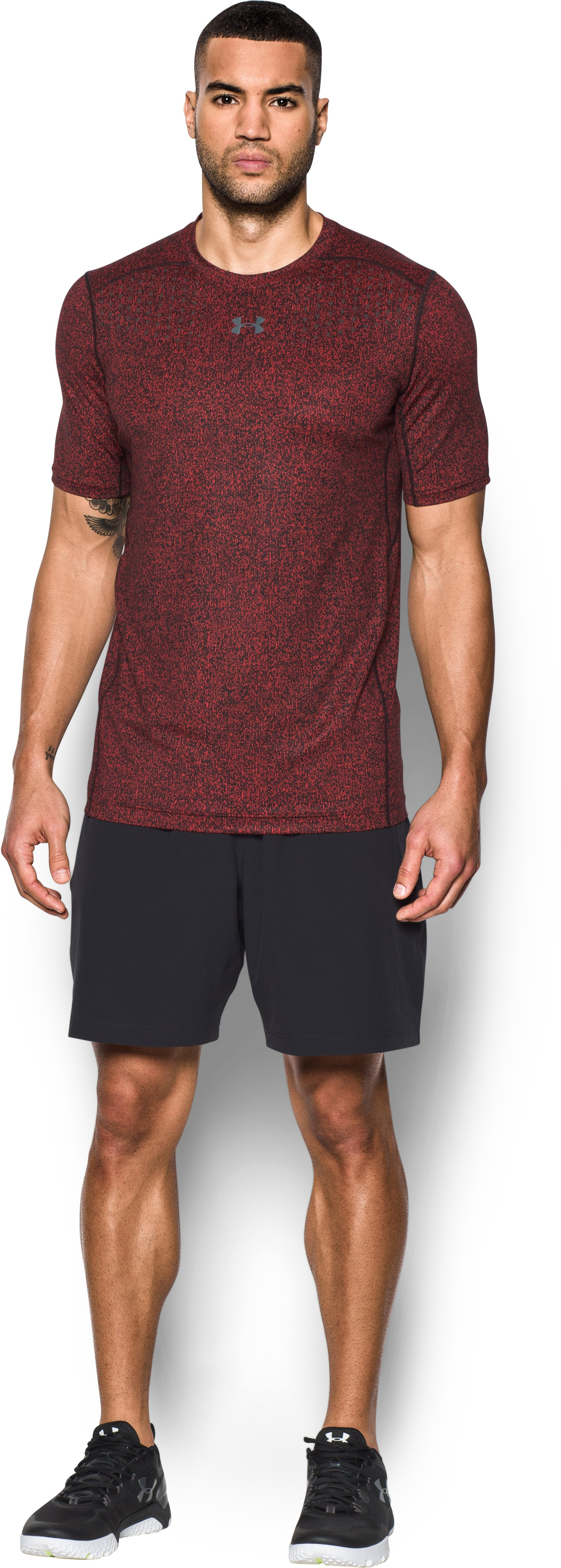 Men's HeatGear® CoolSwitch Short Sleeve, Red, Front