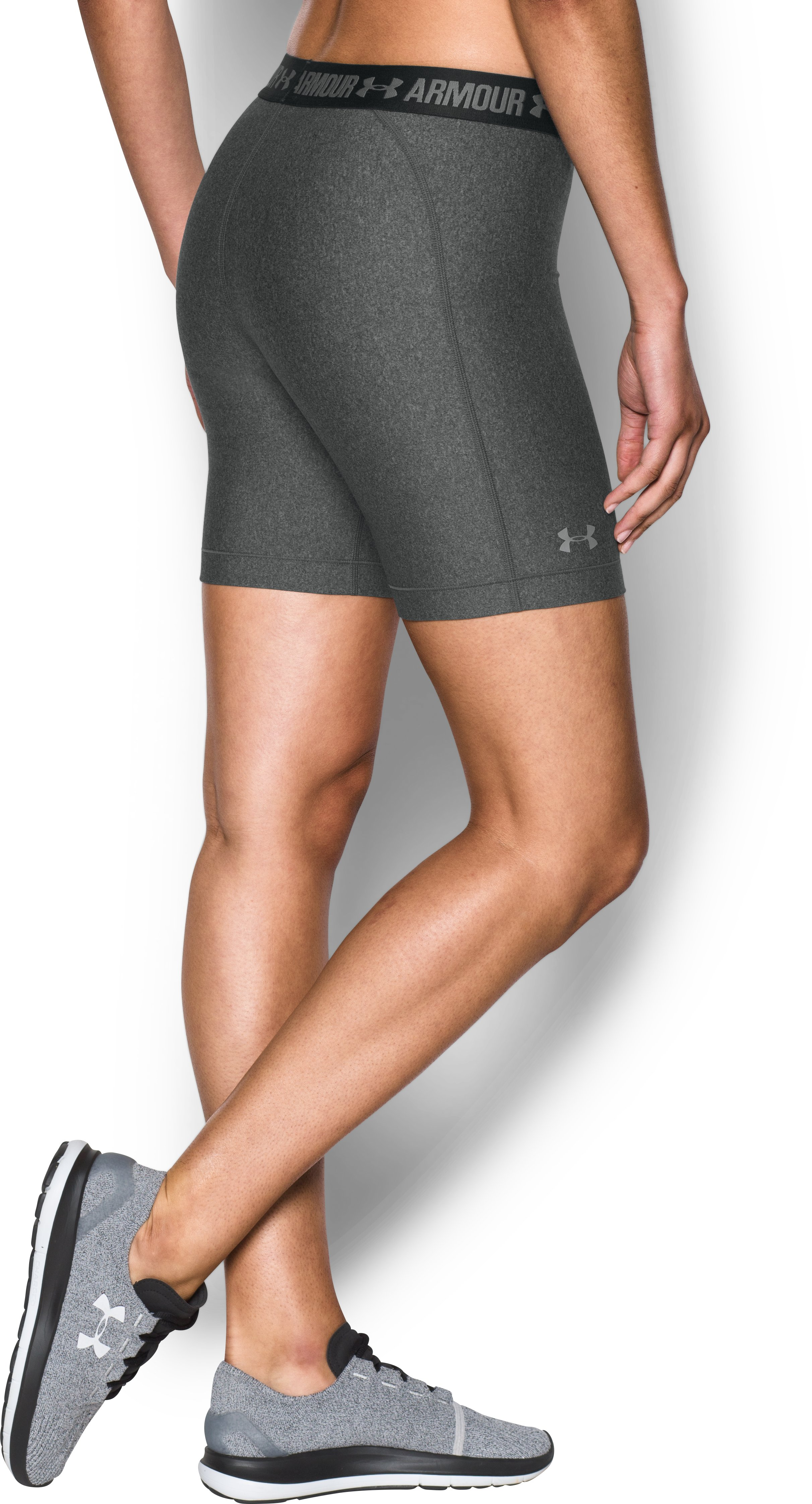 Women's UA HeatGear® Armour Long Shorts, Carbon Heather,