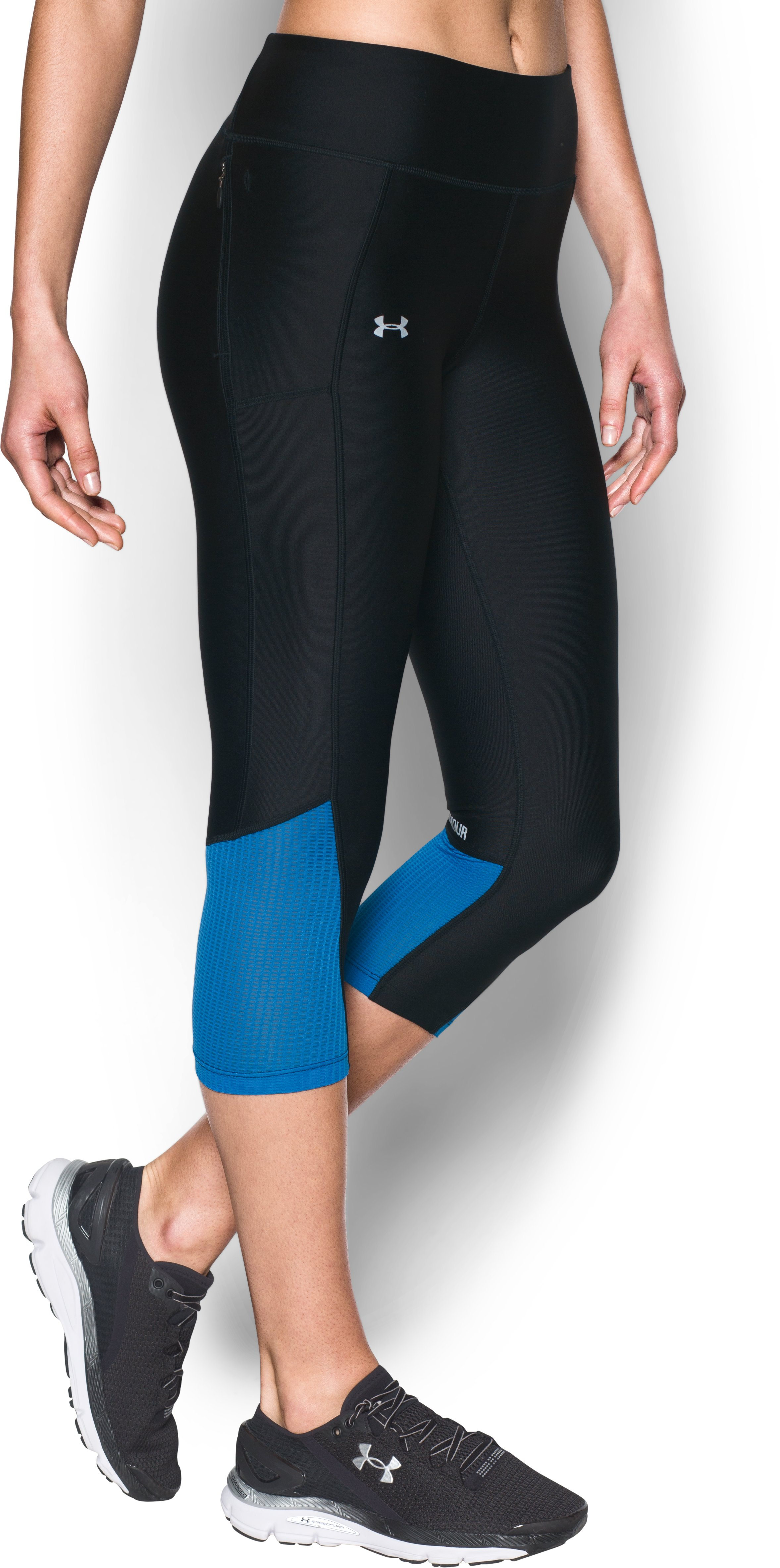 Women's UA Fly-By Capri, Black , zoomed image