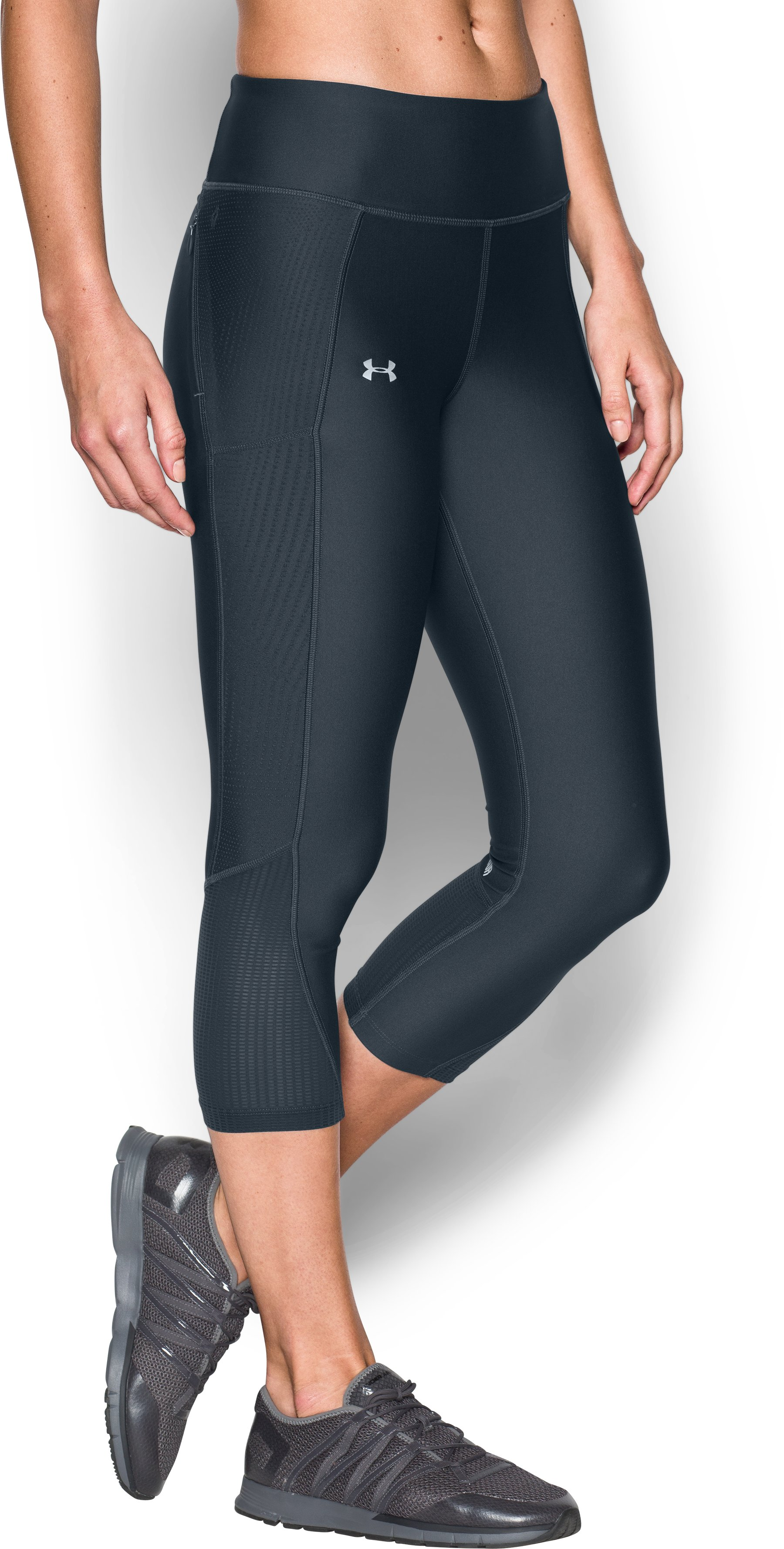 Women's UA Fly-By Printed Capris, STEALTH GRAY