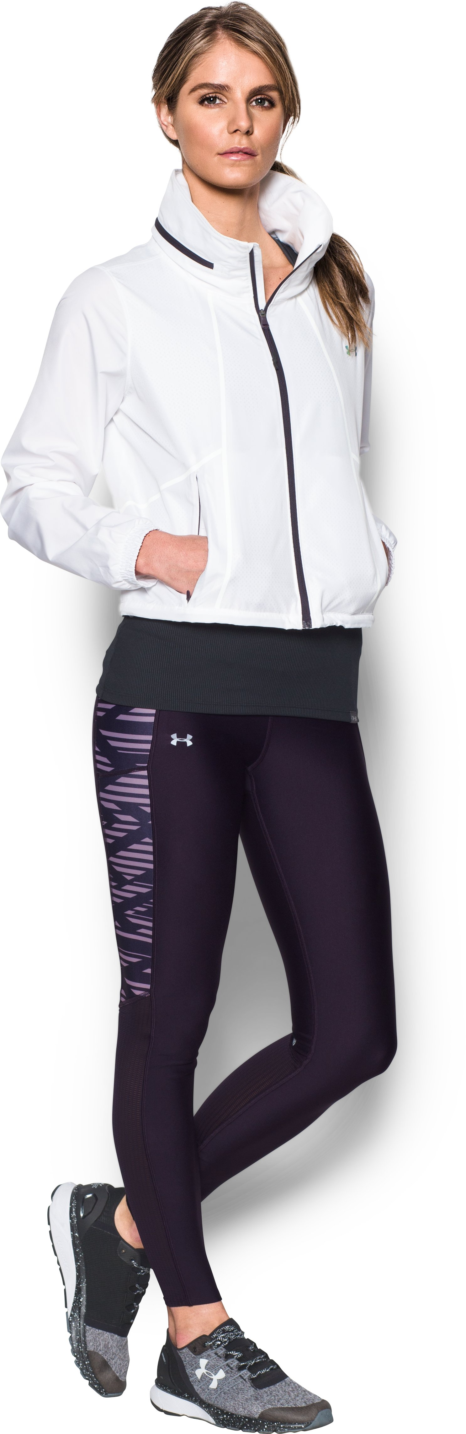 Women's UA Fly-By Printed Leggings, IMPERIAL PURPLE, Front