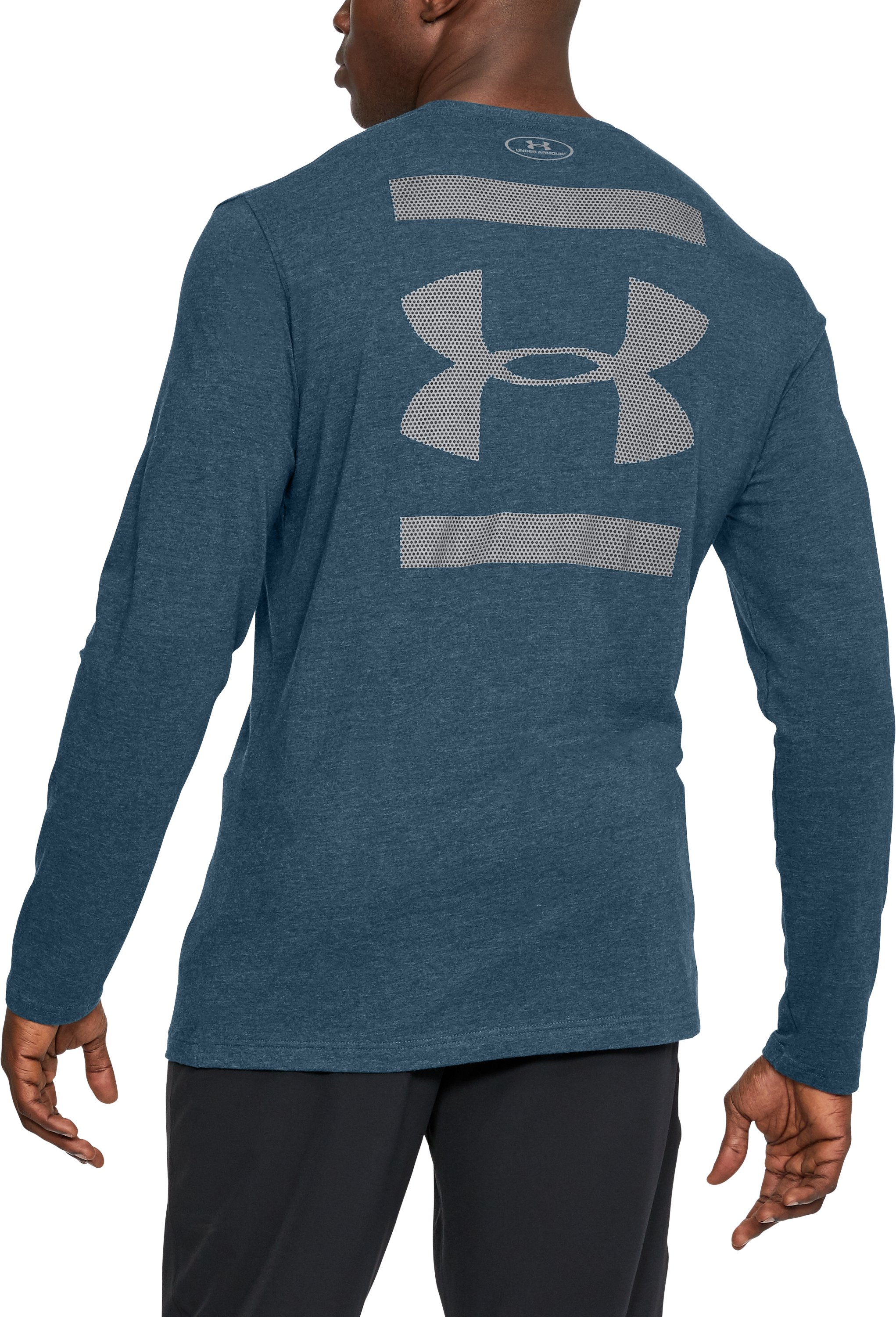 Men's UA Back Graphic Long Sleeve T-Shirt, TRUE INK MEDIUM HEATHER,