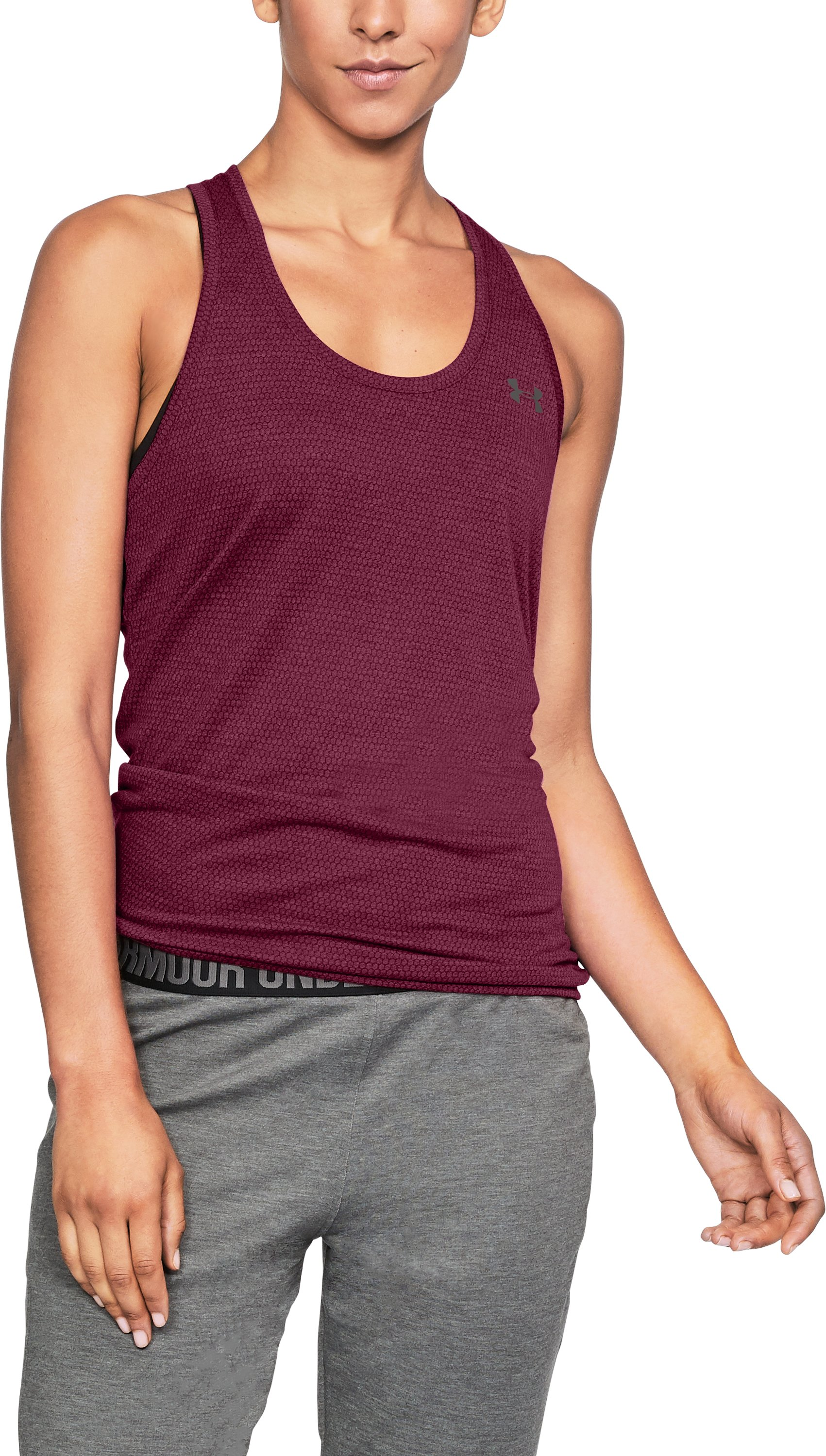 Women's UA Threadborne Train Hex Tank, BLACK CURRANT
