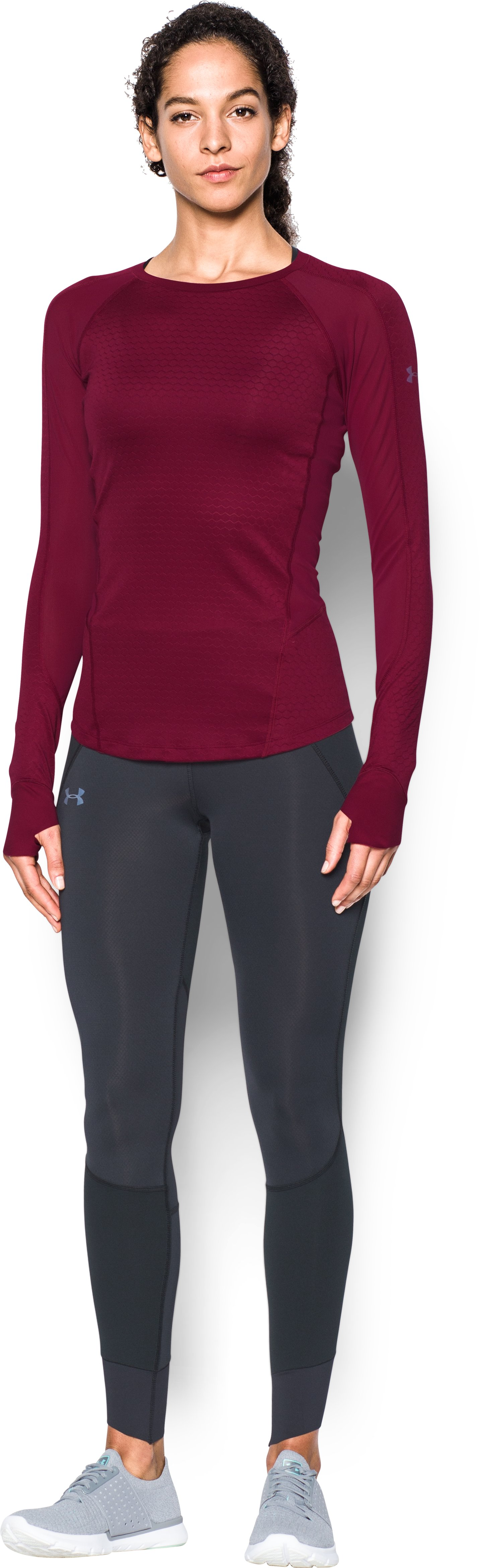 Women's UA HexDelta Long Sleeve, BLACK CURRANT, Front