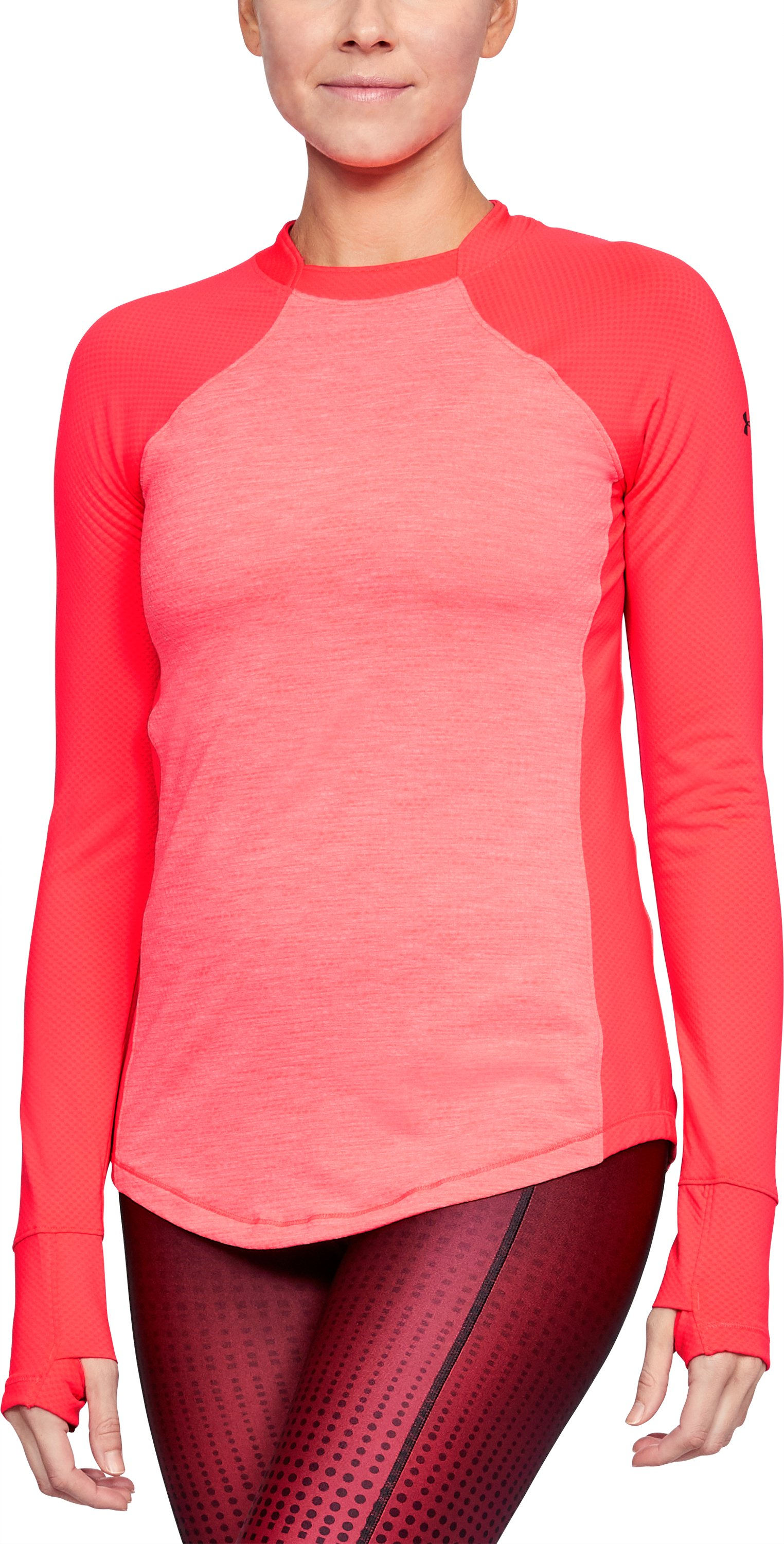 Women's ColdGear® Reactor Long Sleeve, MARATHON RED LIGHT HEATHER,