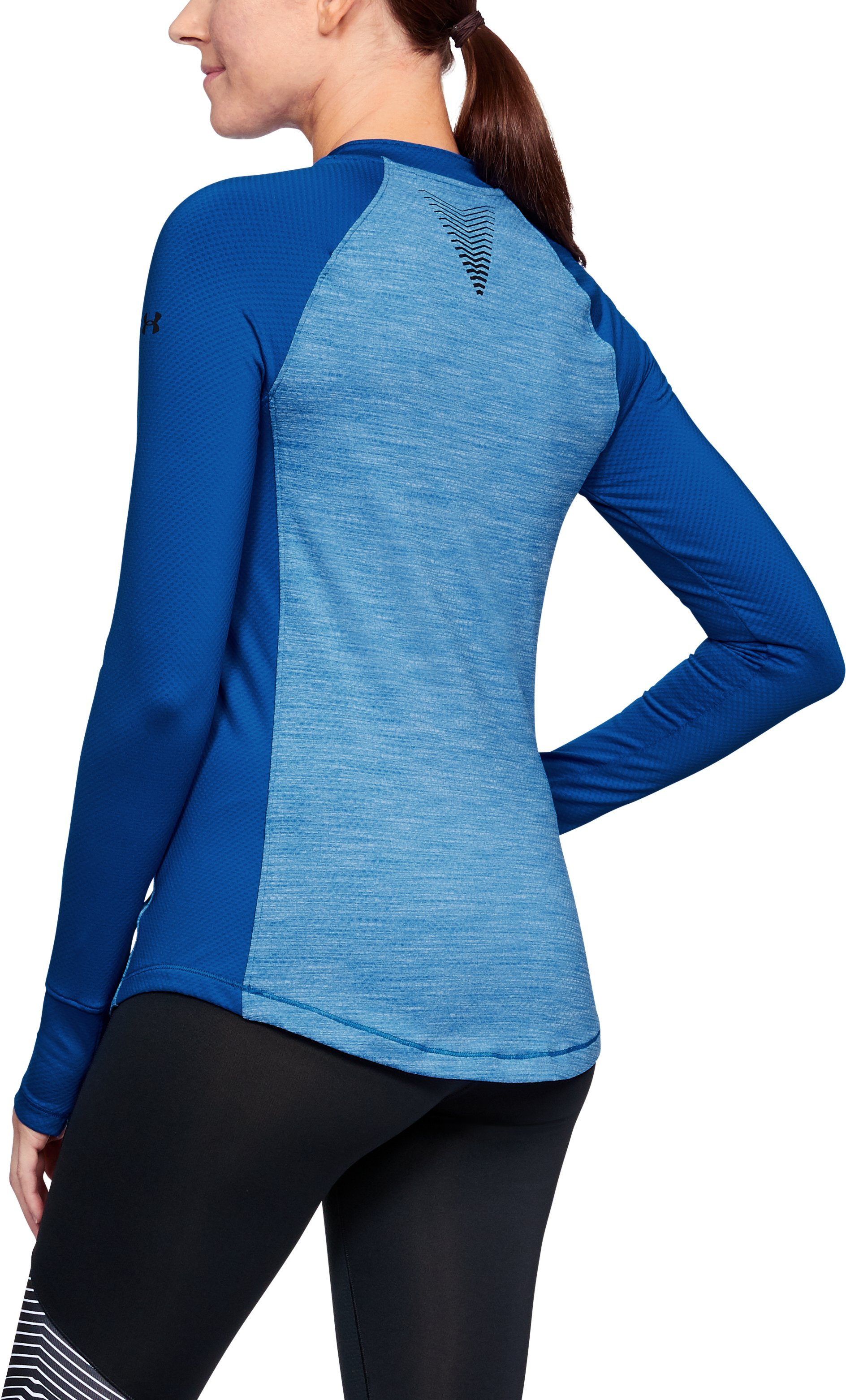Women's ColdGear® Reactor Long Sleeve, LAPIS BLUE LIGHT HEATHER,
