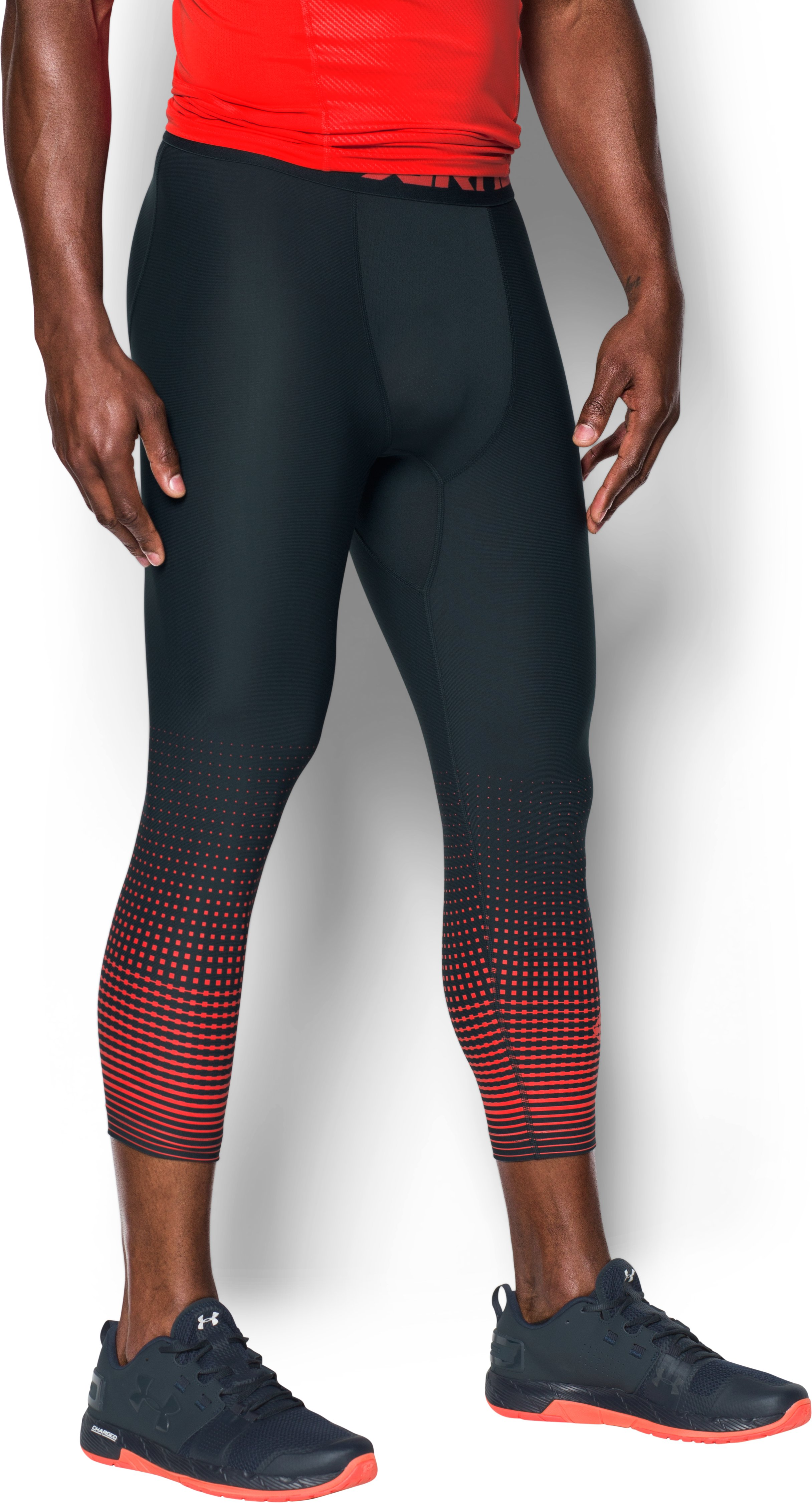 Men's HeatGear® Armour Graphic ¾ Leggings, ANTHRACITE,