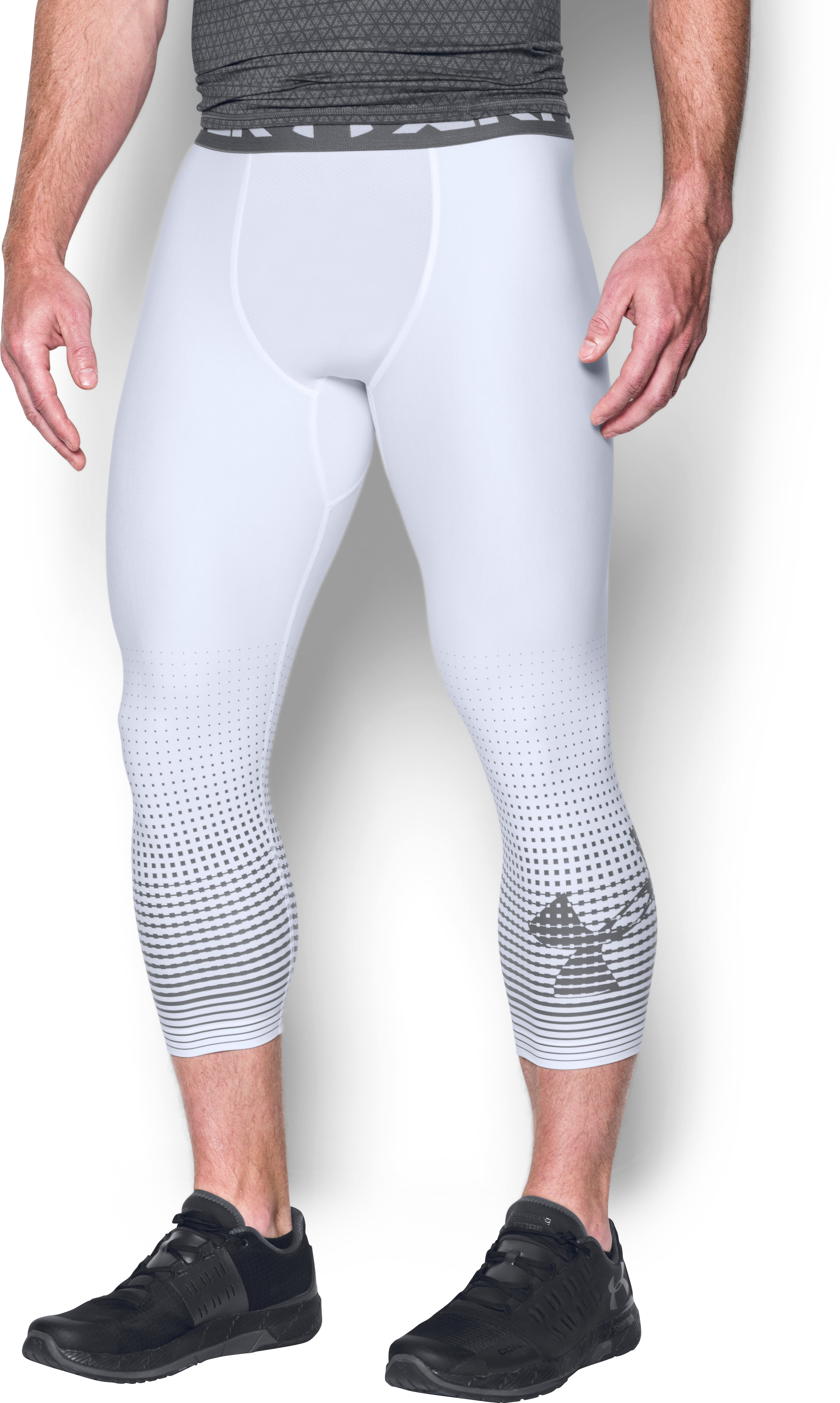 Men's HeatGear® Armour Graphic ¾ Leggings, White,