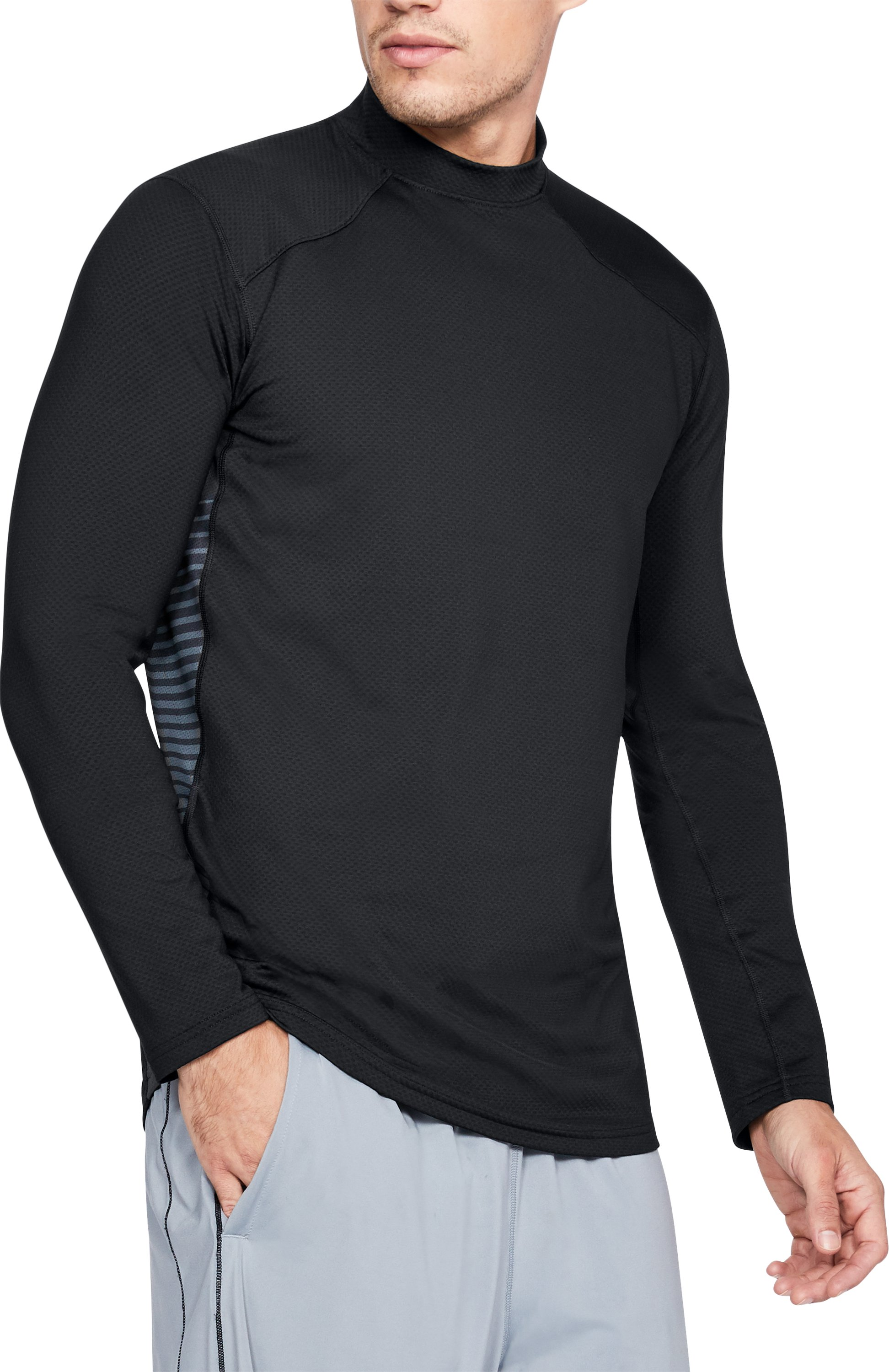 Men's ColdGear® Reactor Fitted Long Sleeve, Black , undefined