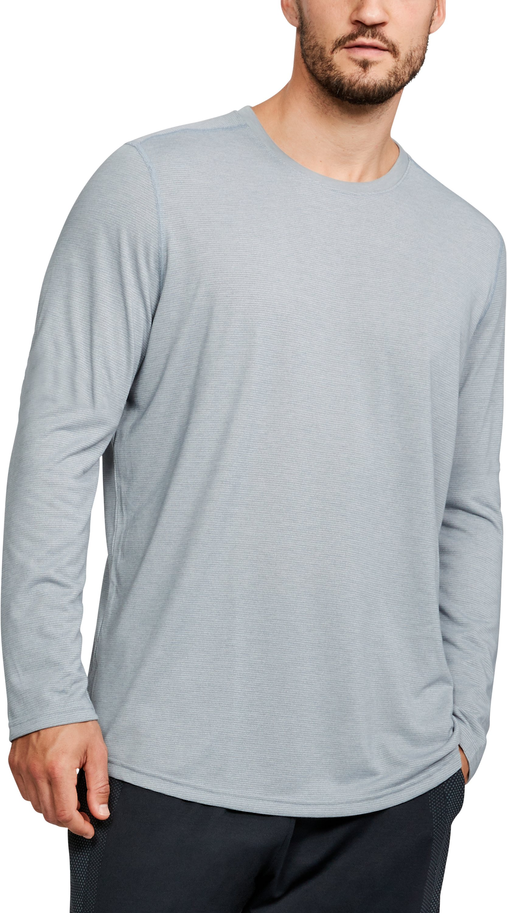 Men's UA Threadborne™ Long Sleeve, True Gray Heather, undefined