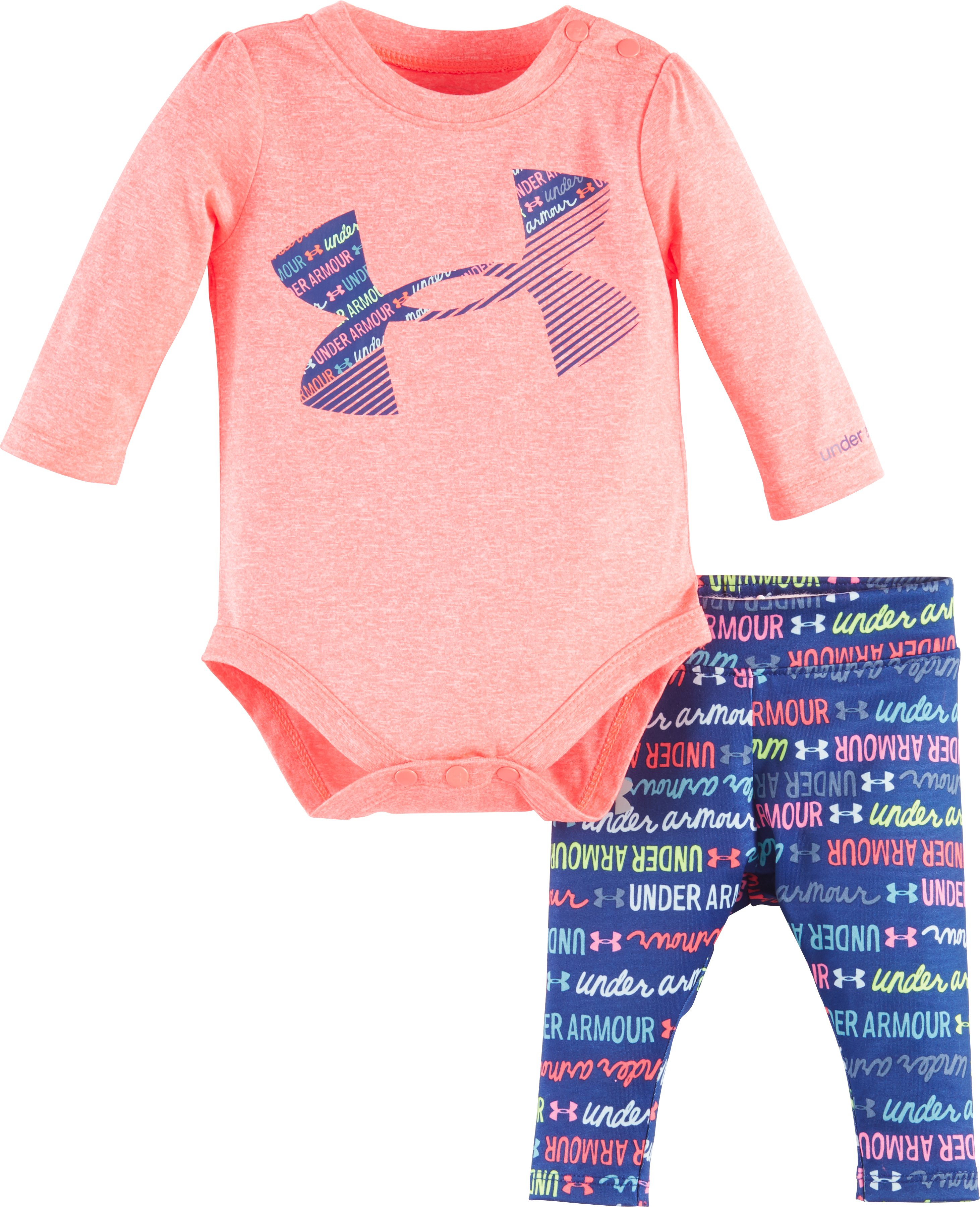 Girls' Newborn UA Wordmark Script Set, PINK CHROMA, Laydown