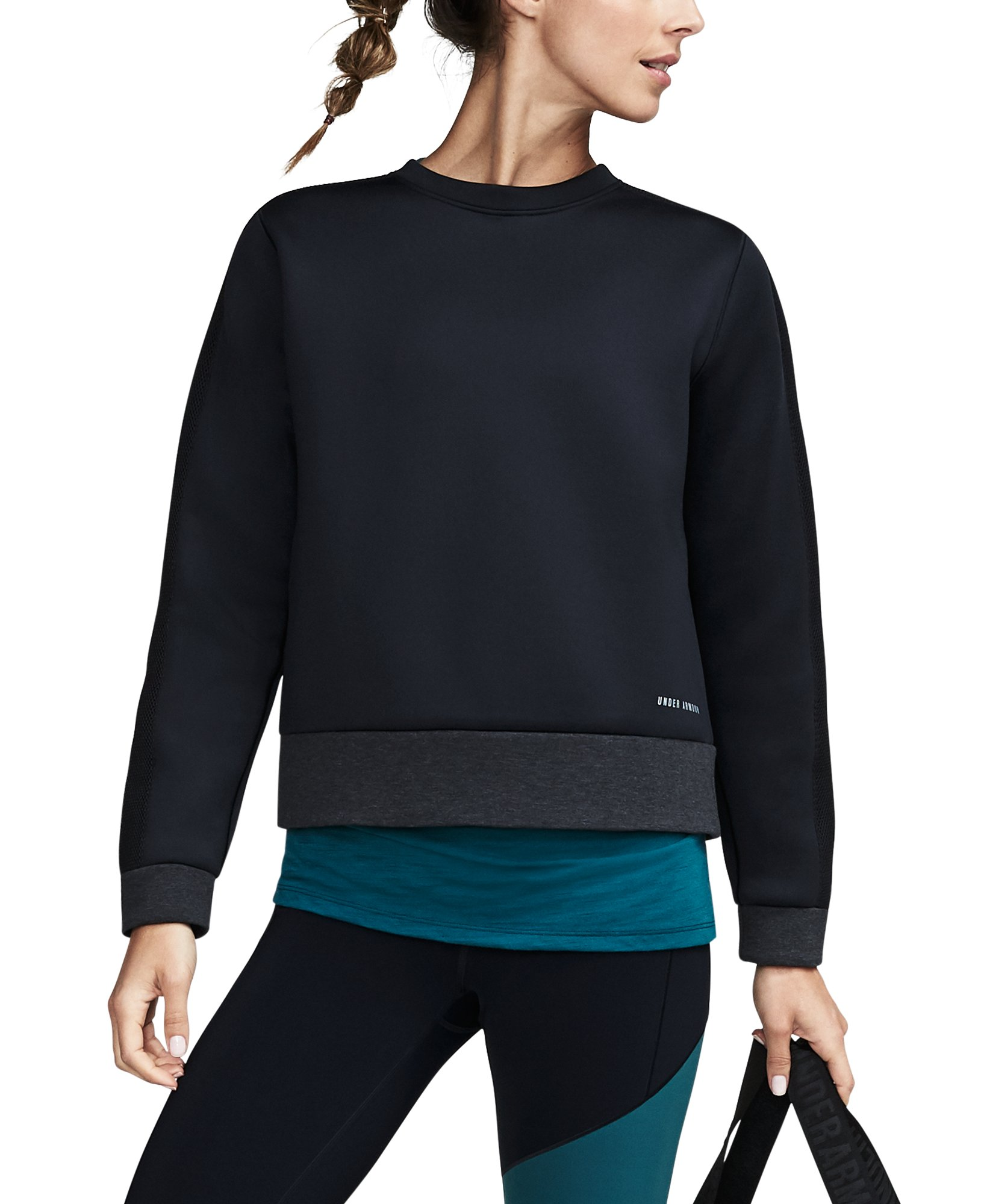 Women's UA Luster Long Sleeve Crew, Black ,