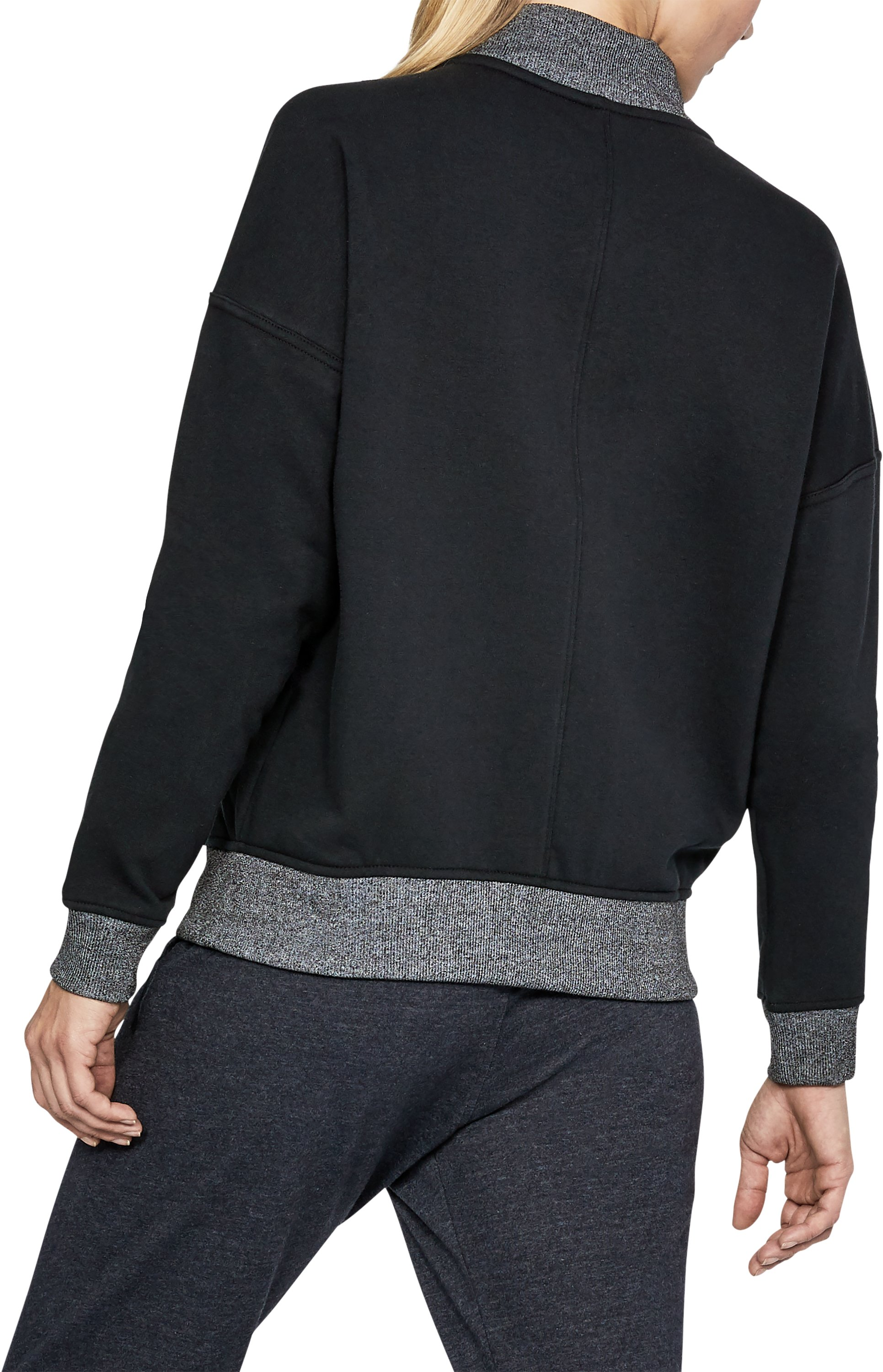 Women's UA Threadborne™ Fleece Bomber, Black , undefined