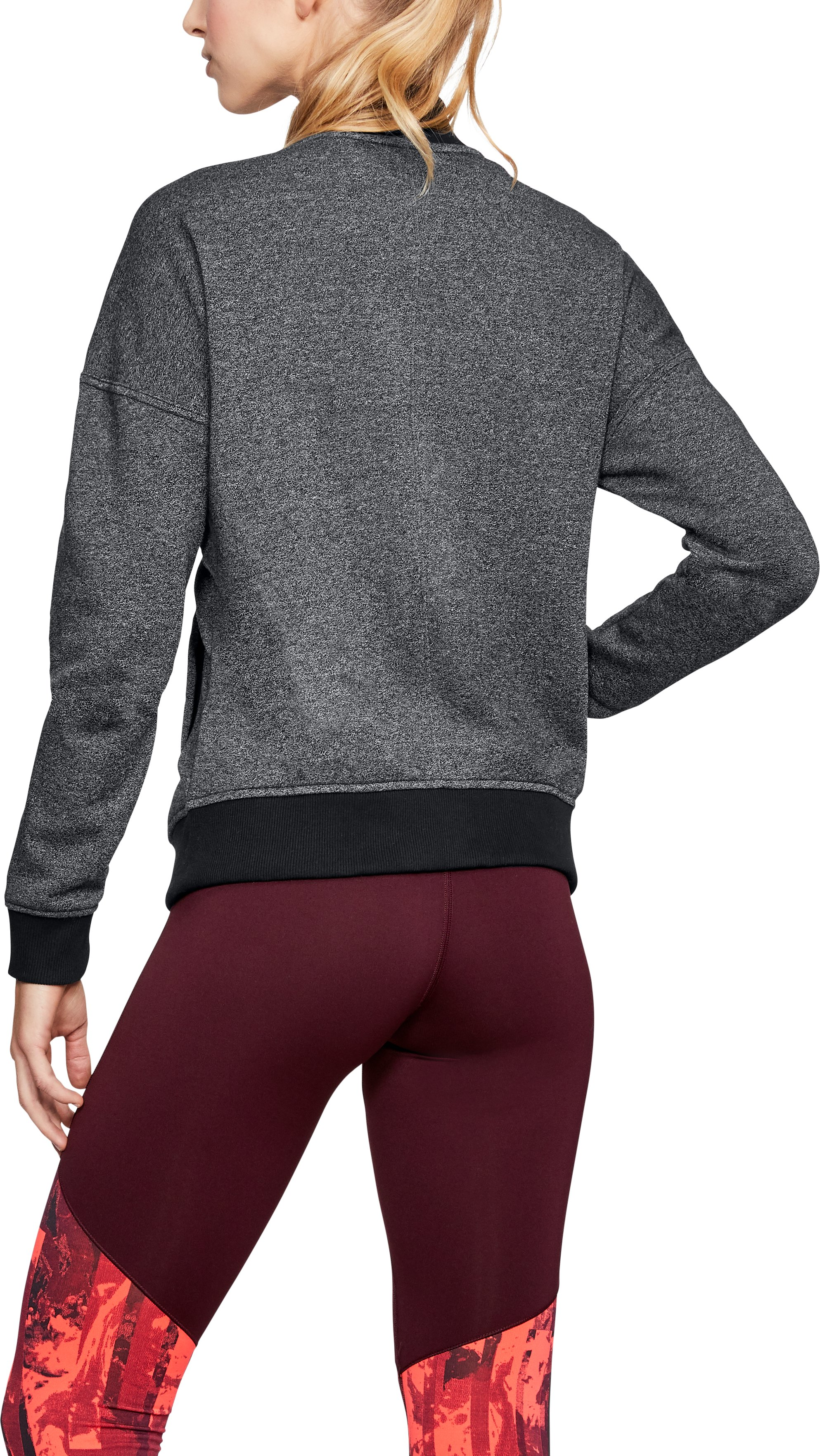 Women's UA Threadborne™ Fleece Bomber, Black
