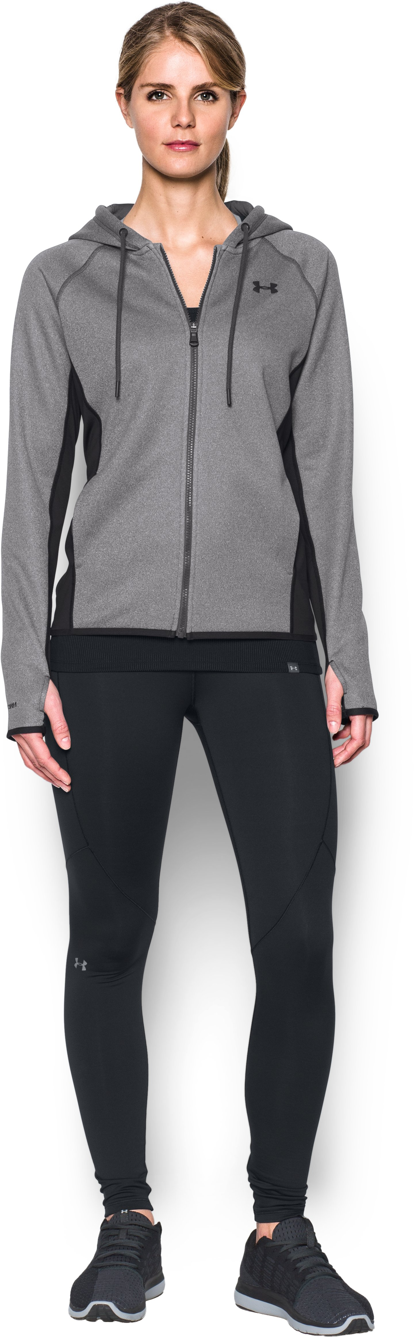 Women's UA Storm Armour® Fleece Full Zip Hoodie, Carbon Heather, Front