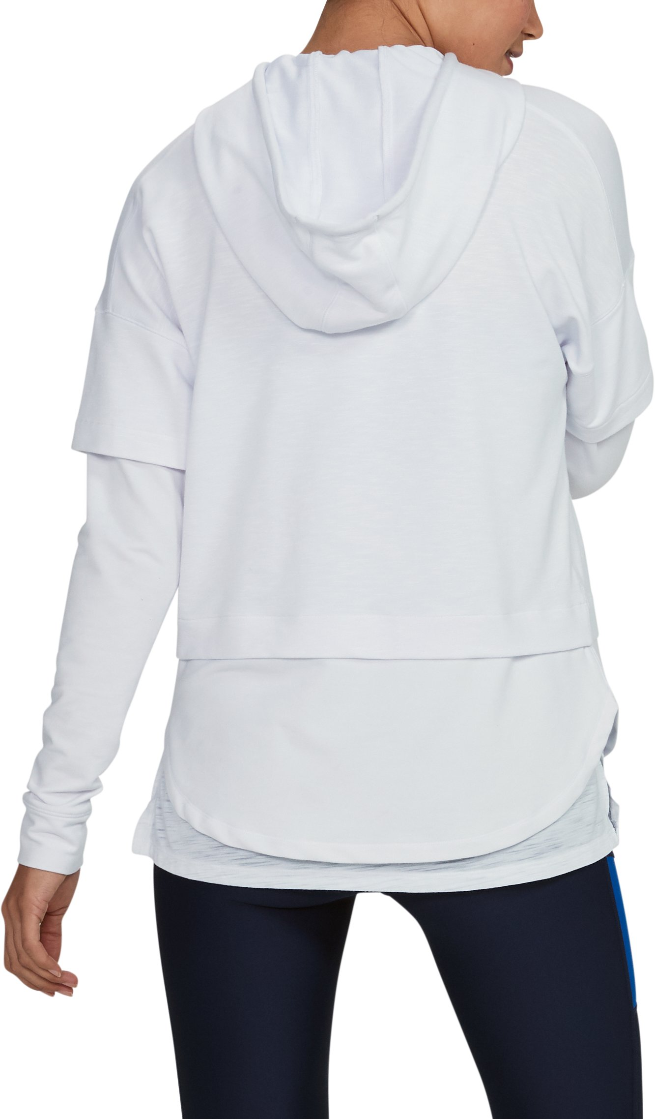 Women's UA Featherweight Fleece Faux 2-in-1 Hoodie, White