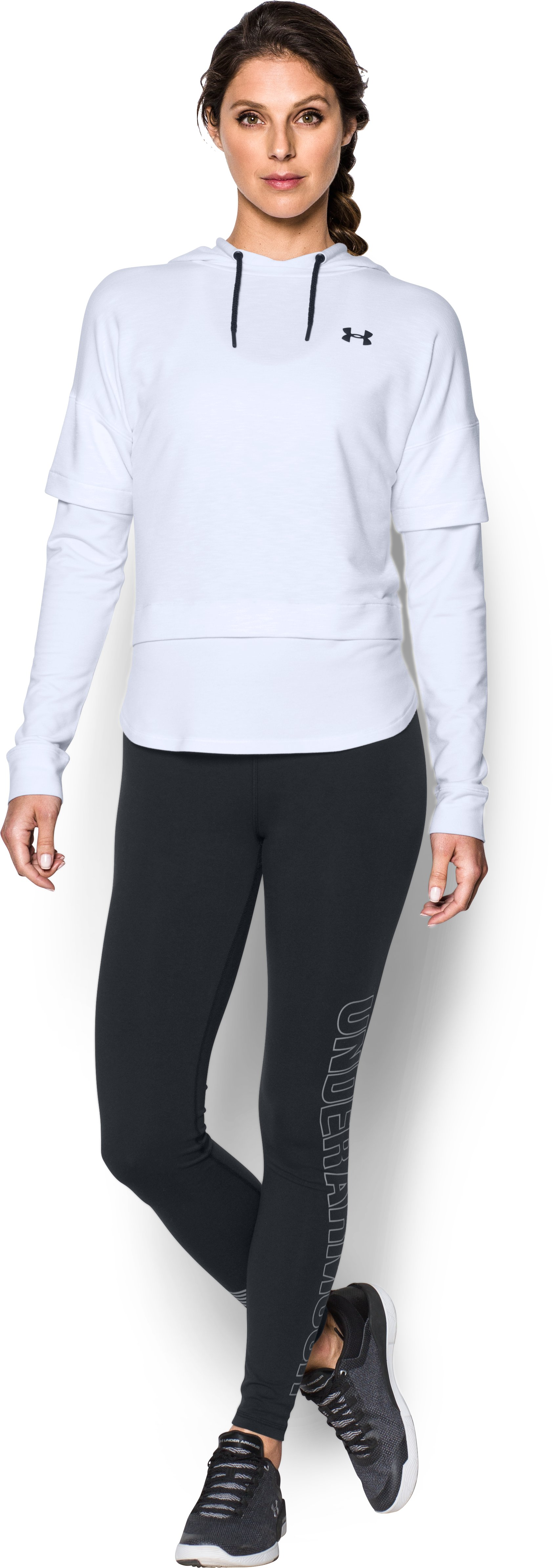Women's UA Featherweight Fleece Faux 2-in-1 Hoodie, White, Front