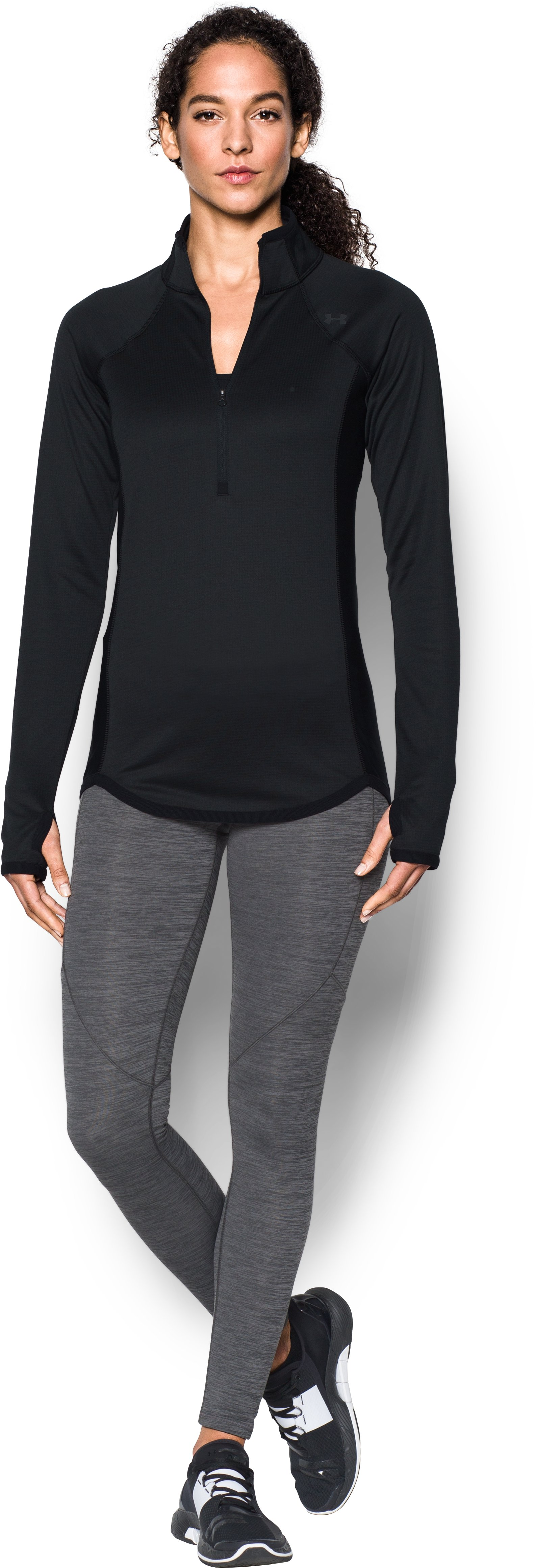 Women's UA ColdGear® Reactor Fleece ½ Zip, Black , Front