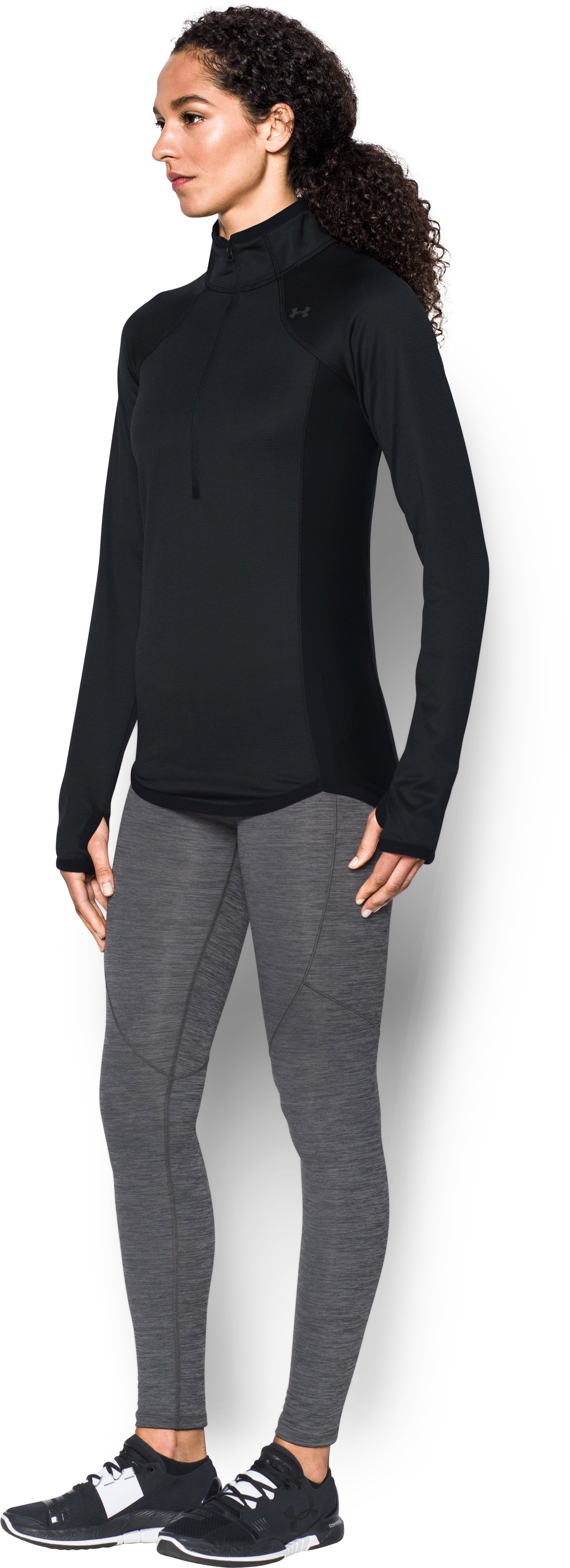 Women's UA ColdGear® Reactor Fleece ½ Zip, Black , undefined