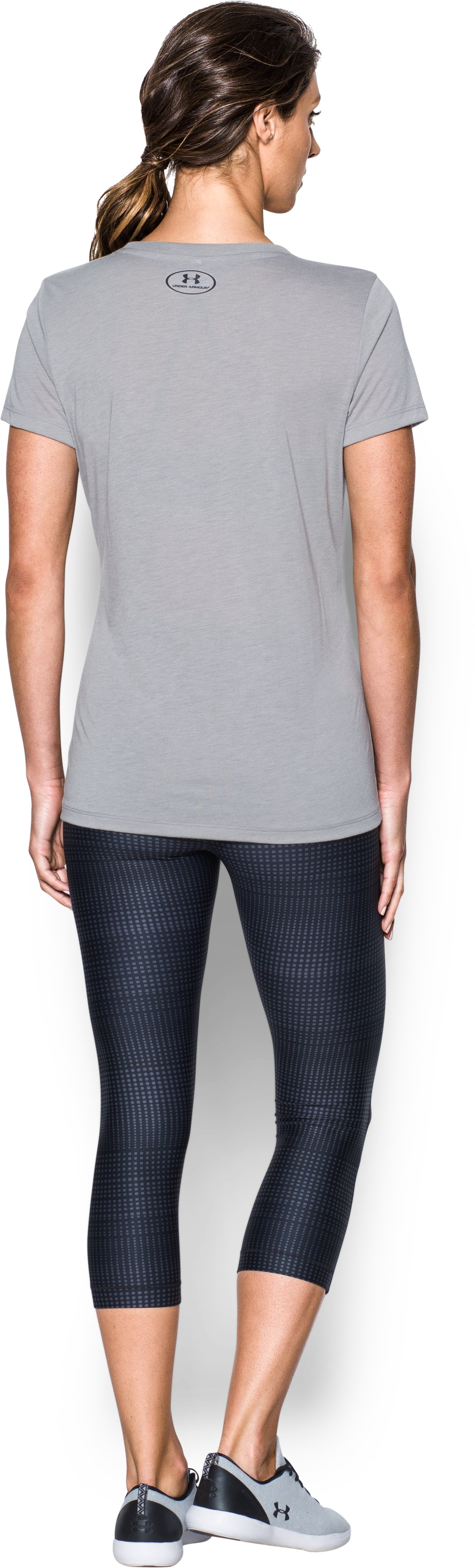 Women's UA Threadborne™ Graphic Short Sleeve, True Gray Heather, Back