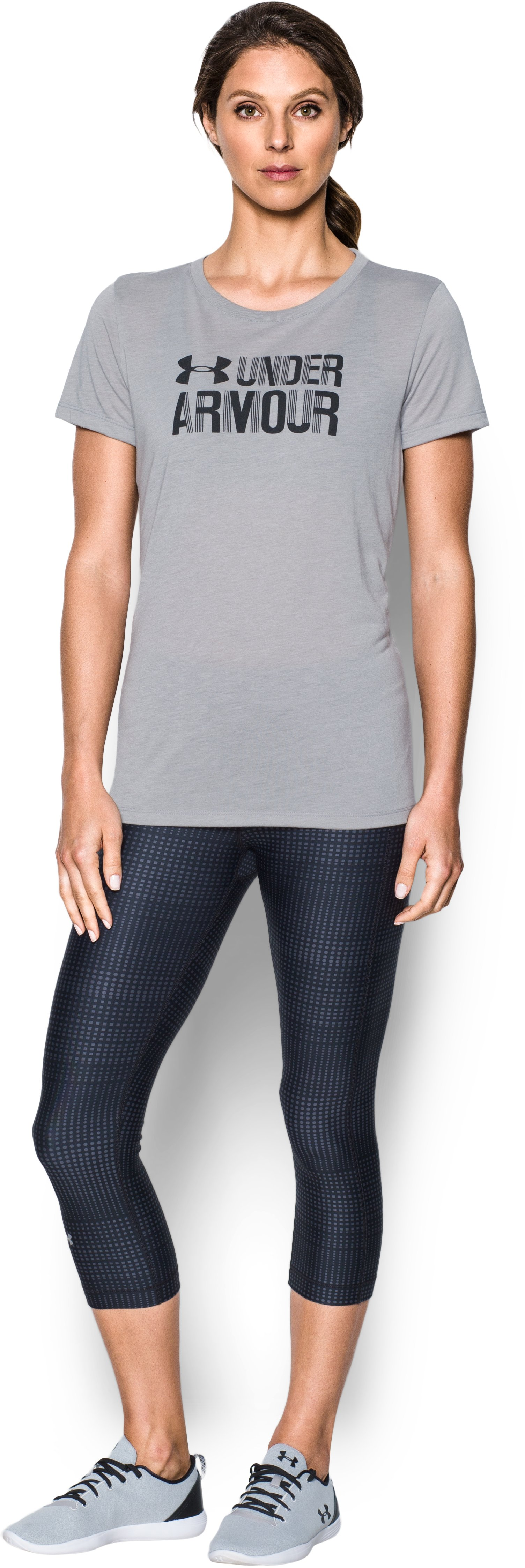 Women's UA Threadborne™ Graphic Short Sleeve, True Gray Heather, Front