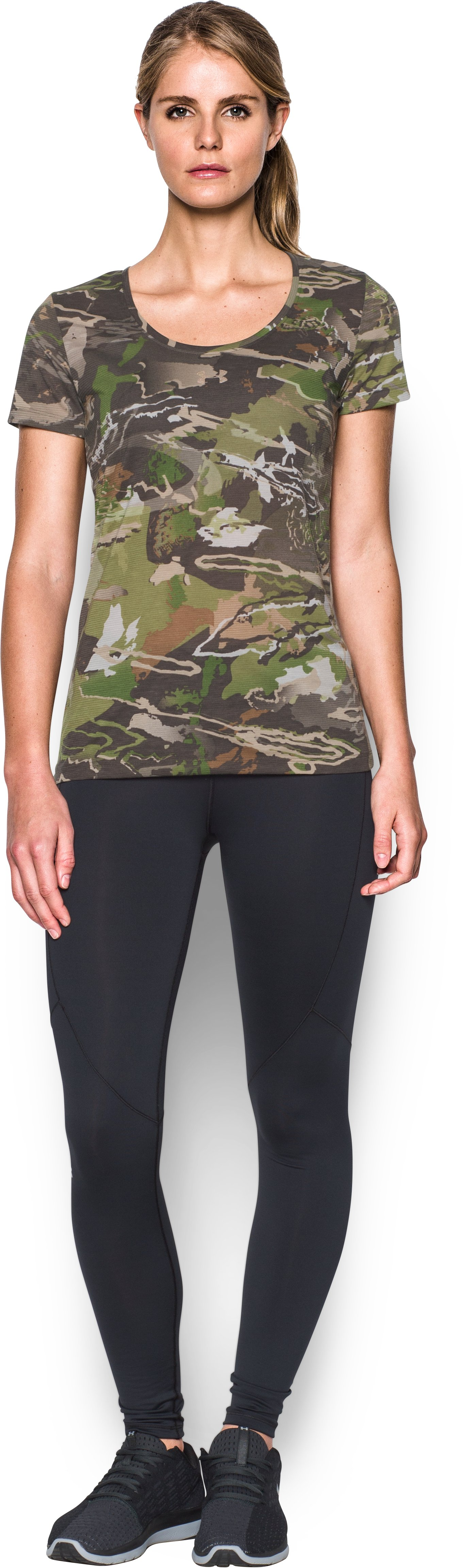 Women's UA Threadborne™ Early Season Short Sleeve, RIDGE REAPER® FOREST, Front