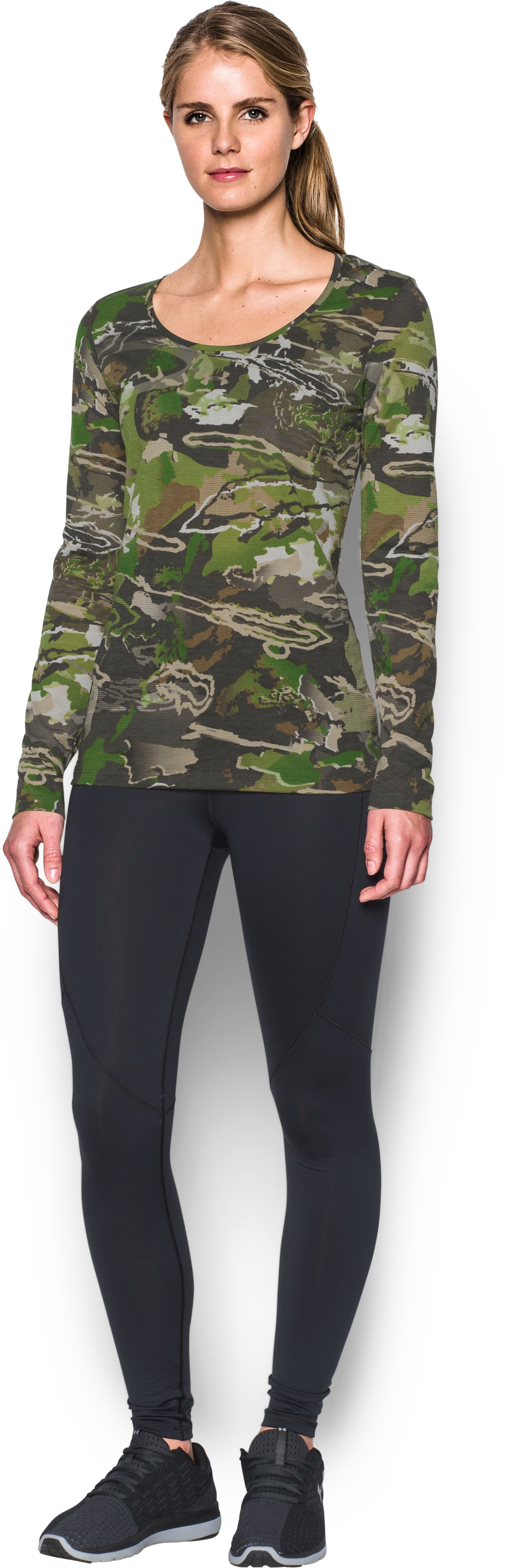 Women's UA Threadborne™ Early Season Long Sleeve, RIDGE REAPER® FOREST, Front