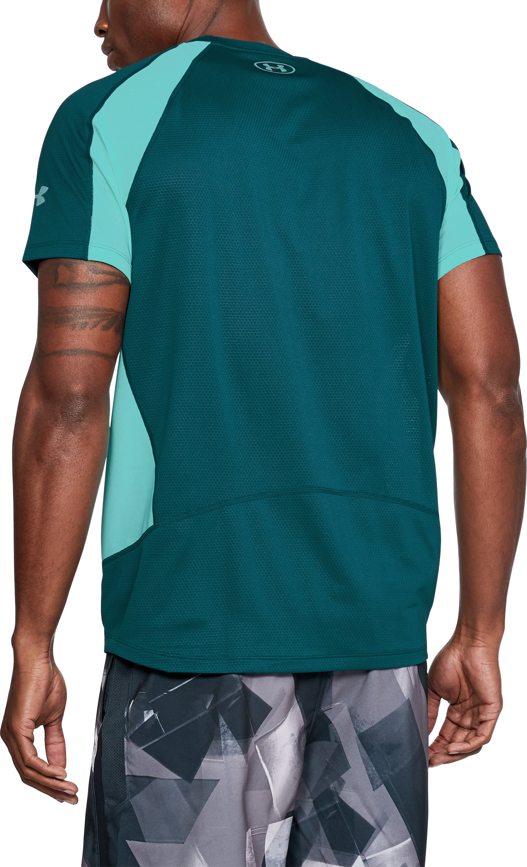 Men's UA HexDelta Short Sleeve, TOURMALINE TEAL,