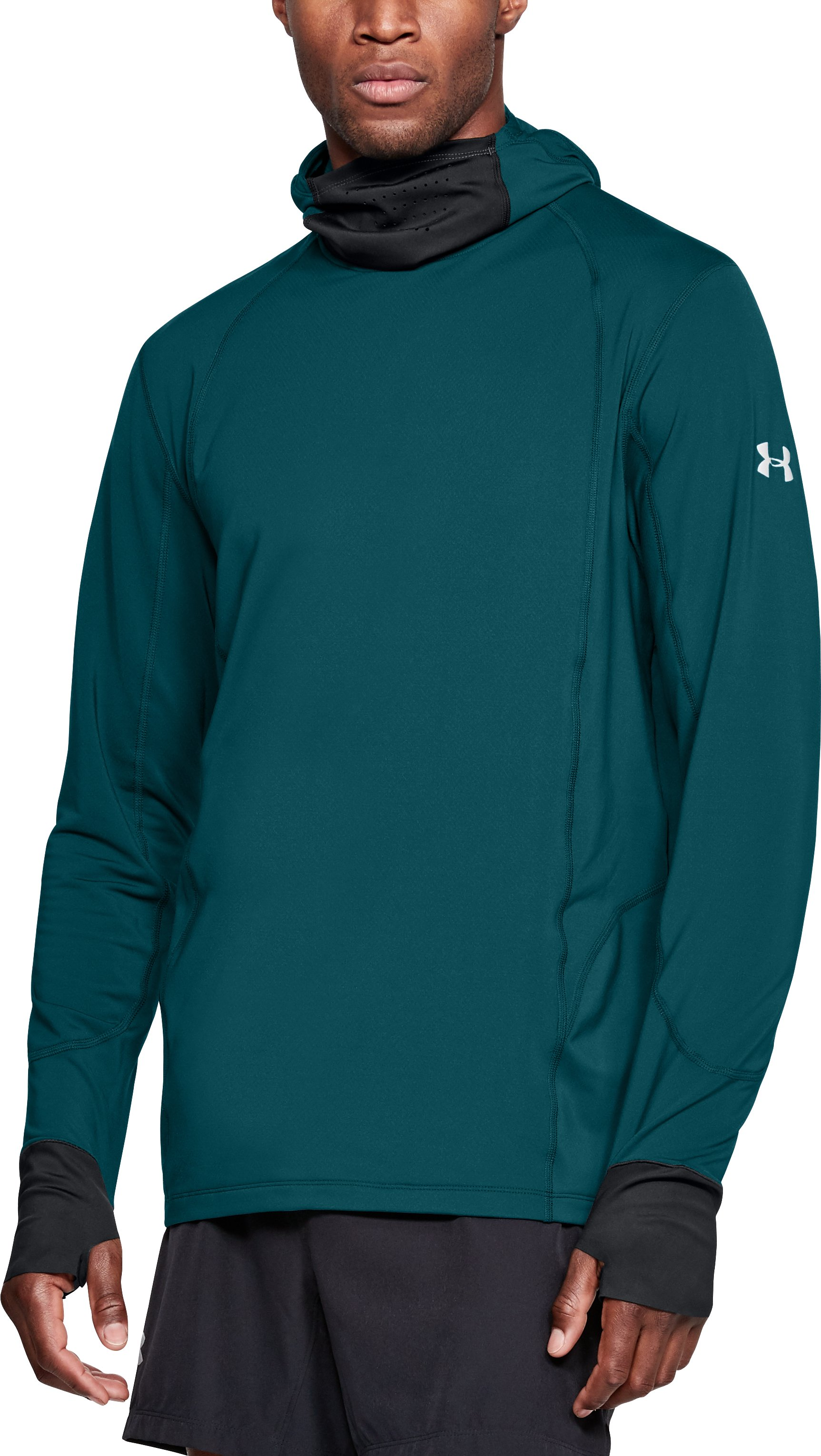 Men's ColdGear® Reactor Run Balaclava Hoodie, TOURMALINE TEAL