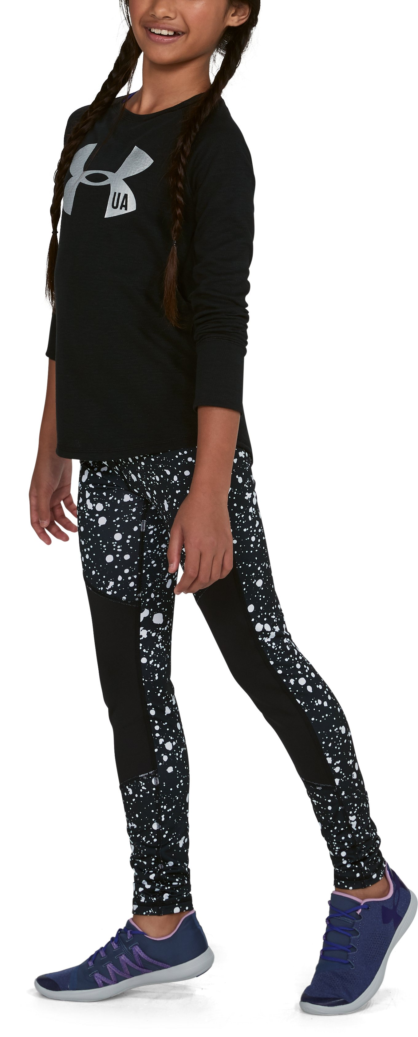 Girls' ColdGear® Printed Leggings, Black ,