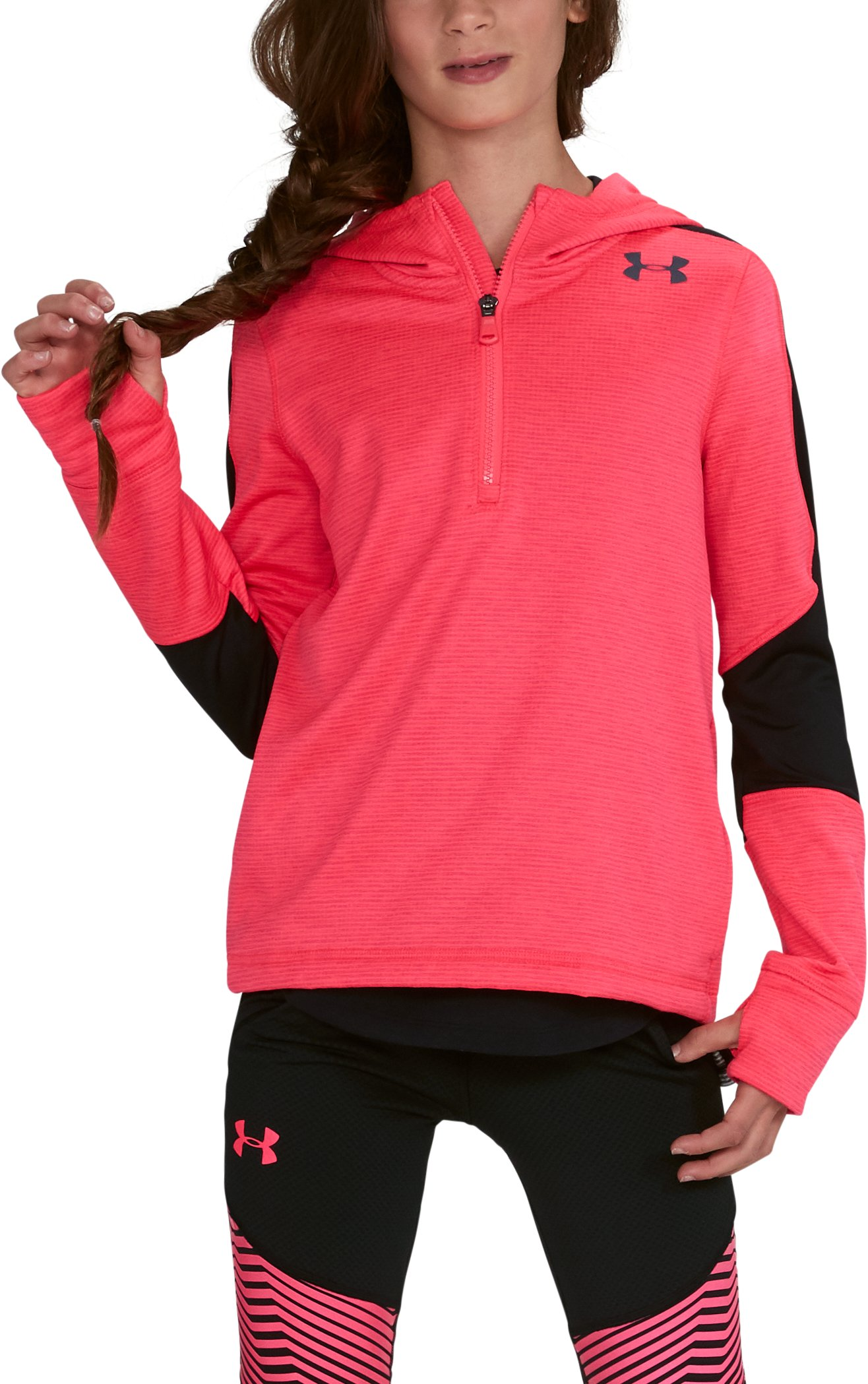 Girls' ColdGear® Reactor Fleece ½ Zip Hoodie, PENTA PINK,